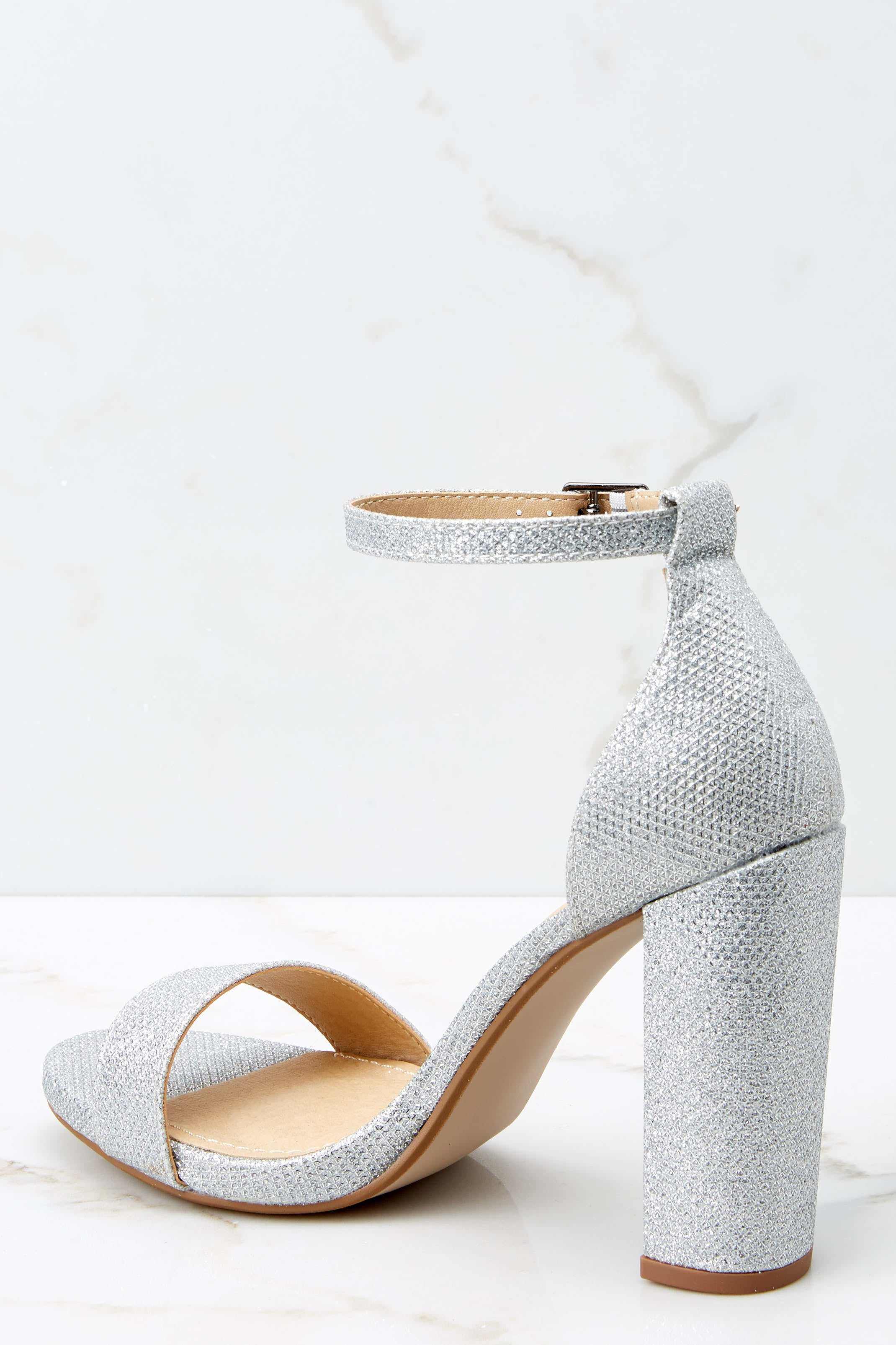 4 Never Grow Up Silver Sparkle Ankle Strap Heels at reddressboutique.com