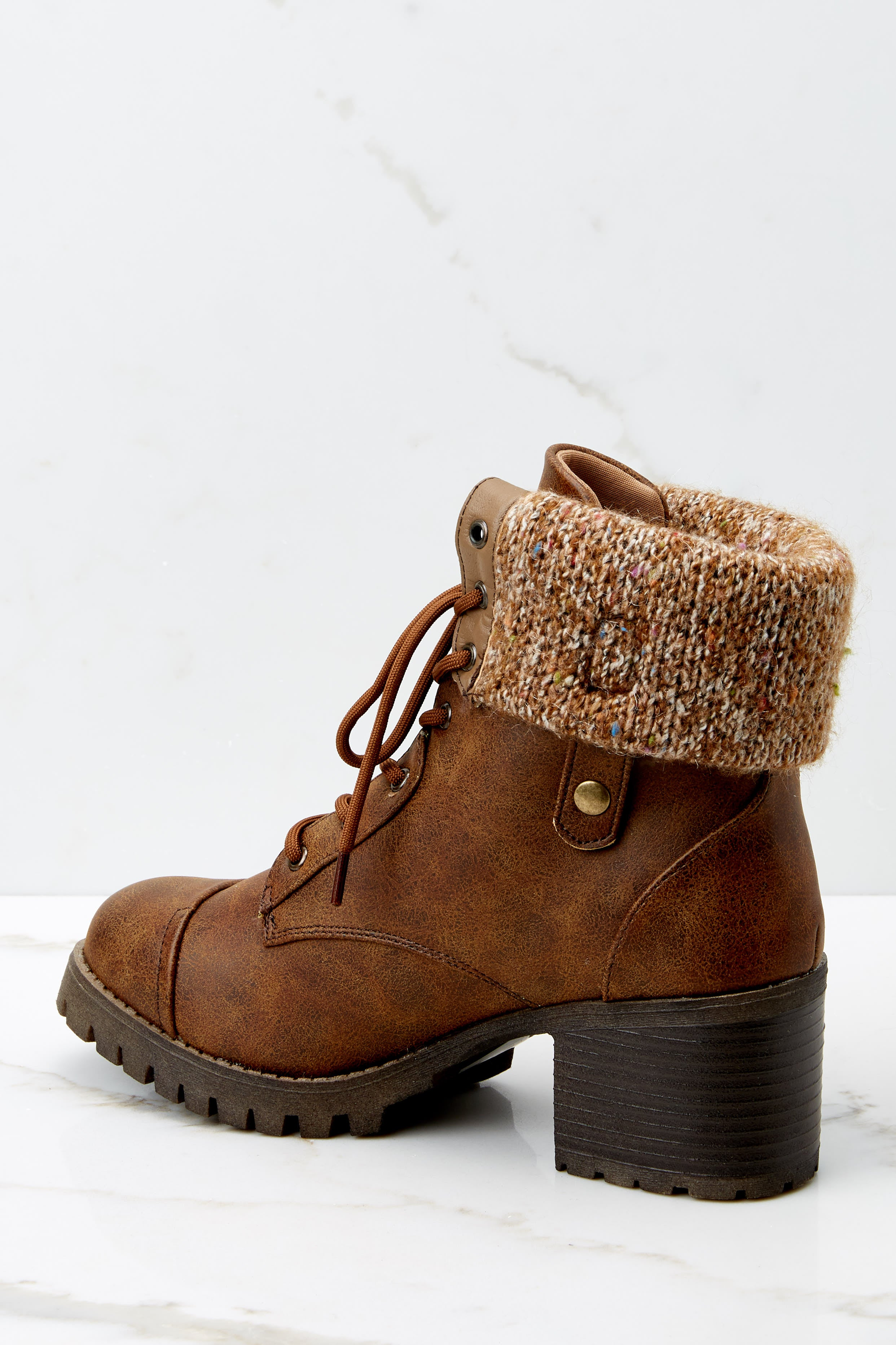 5 Somewhere Out There Brown Lace Up Boots at reddress.com