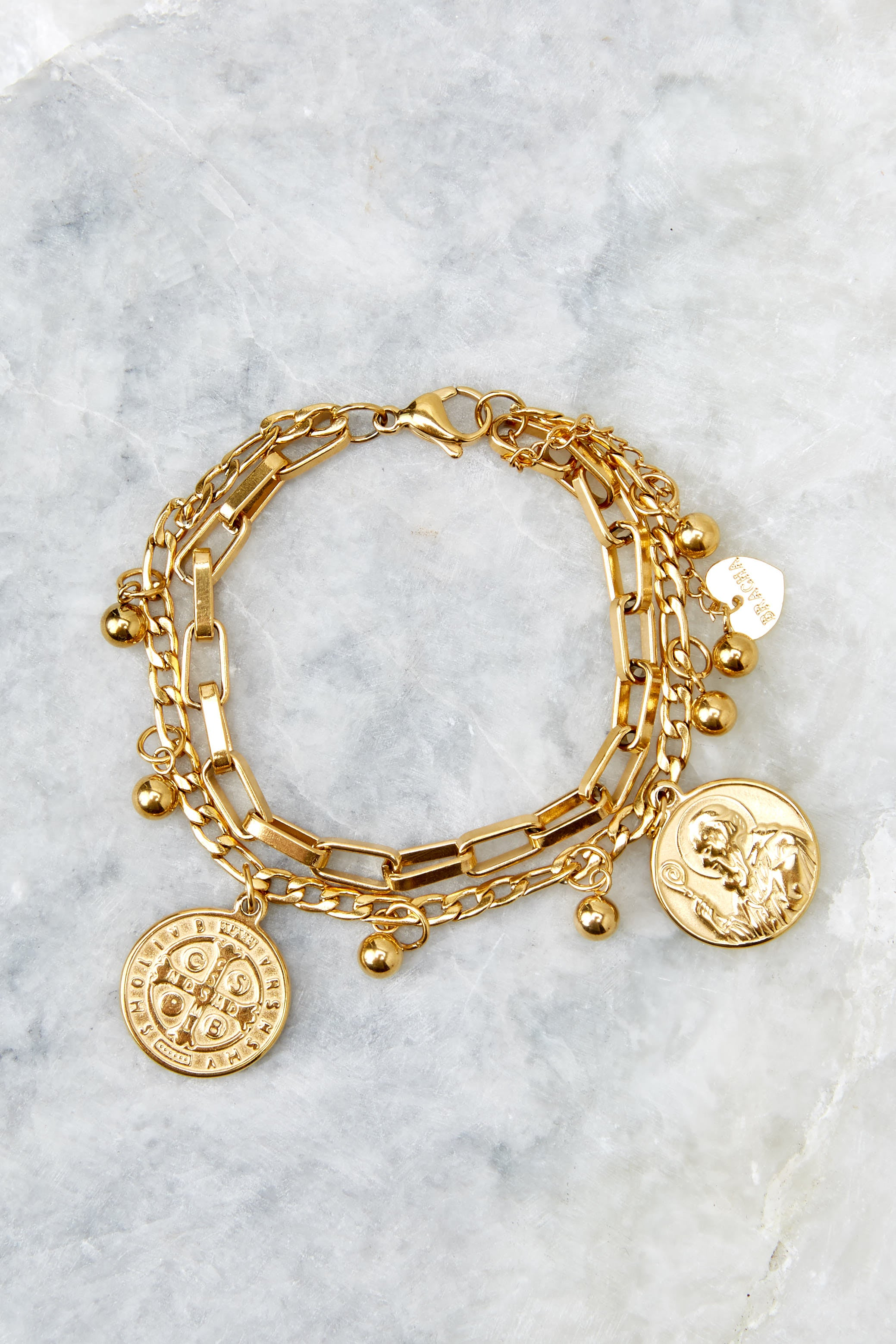 2 All Saints Gold Coin Bracelet at reddressboutique.com