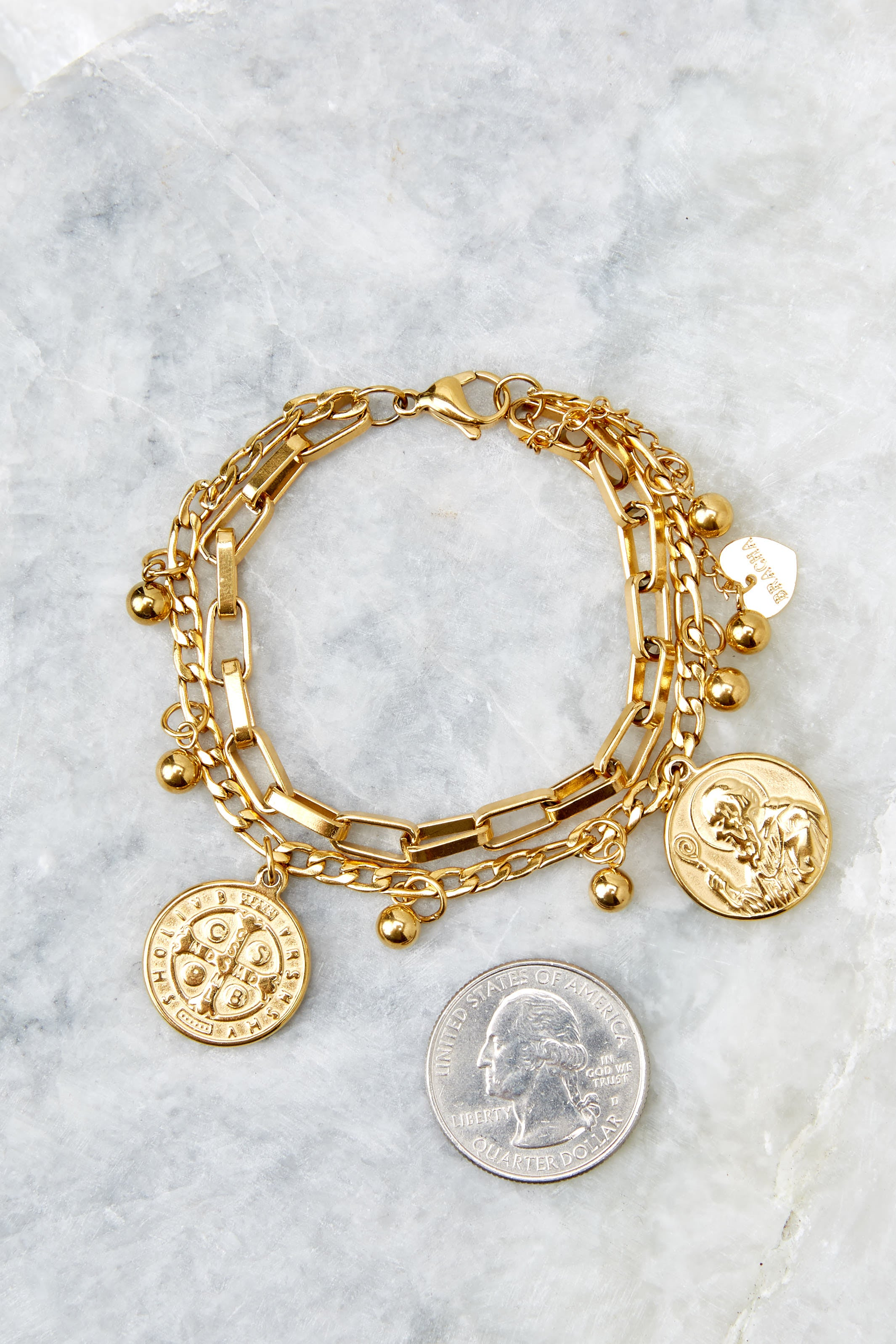 3  All Saints Gold Coin Bracelet at reddressboutique.com