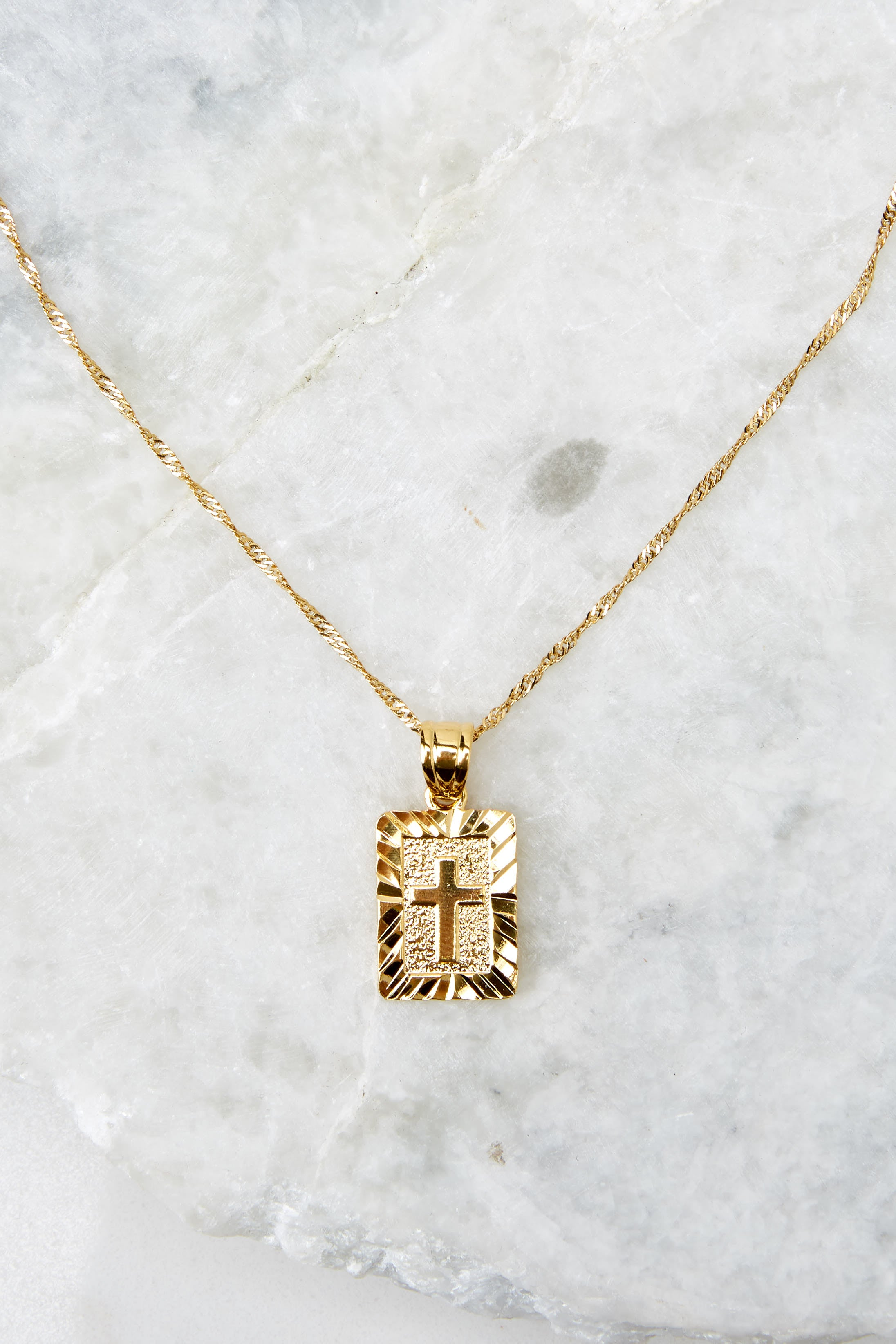 3 Truth Card Gold Necklace at reddress.com