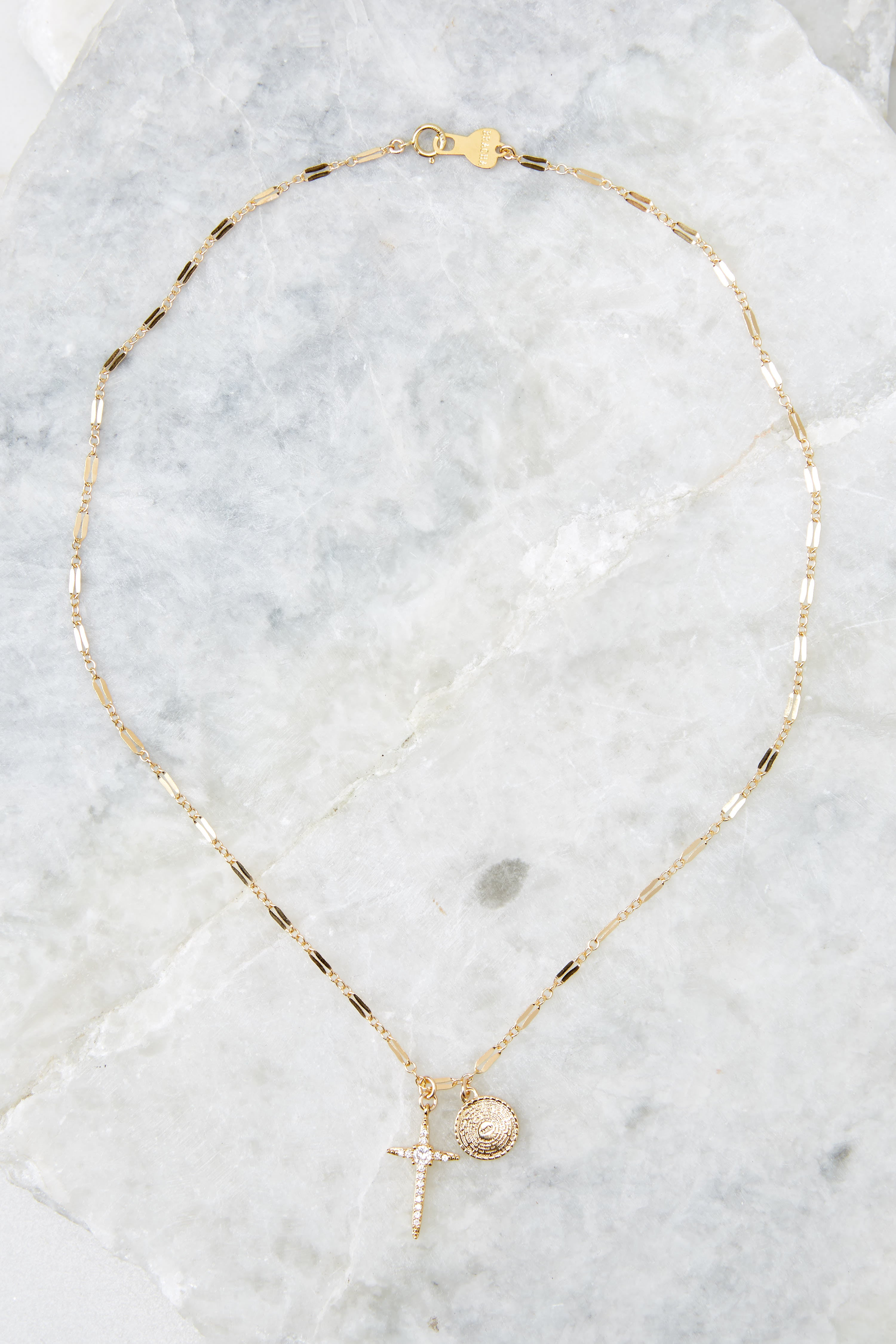 3 Hopeful Cross Gold Necklace at reddress.com
