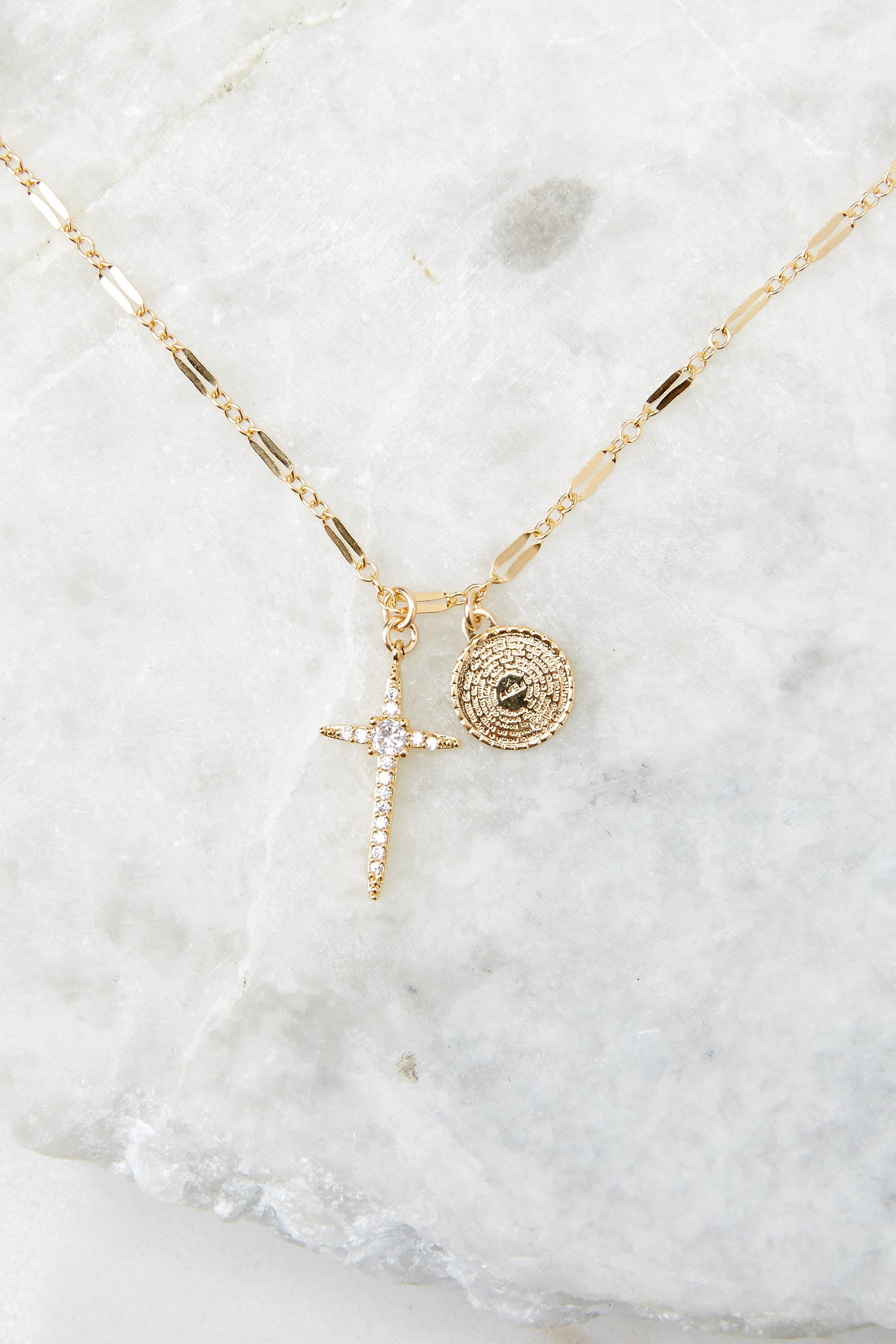 4 Hopeful Cross Gold Necklace at reddress.com