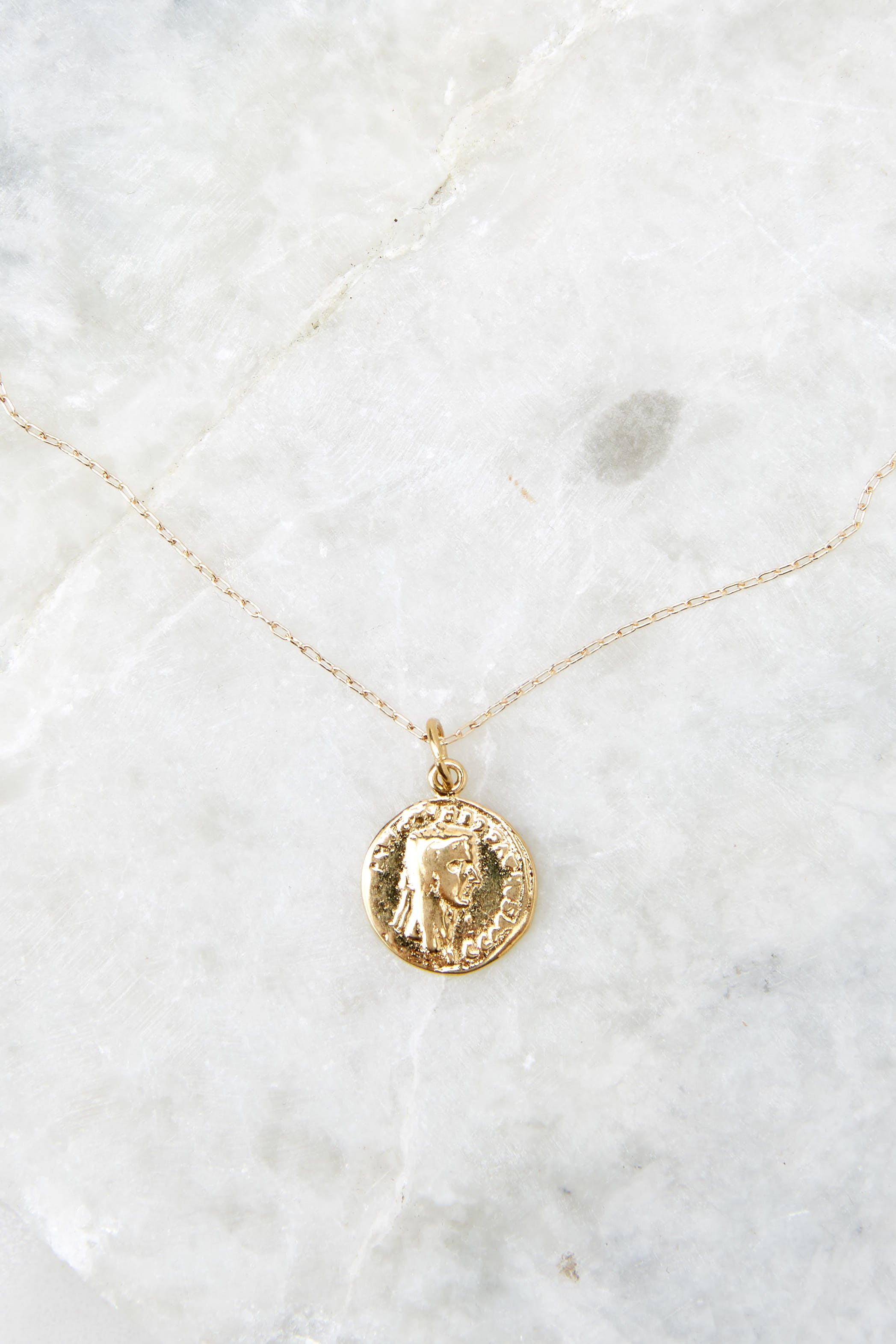 3 French Mini Coin Gold Filled Necklace at reddress.com