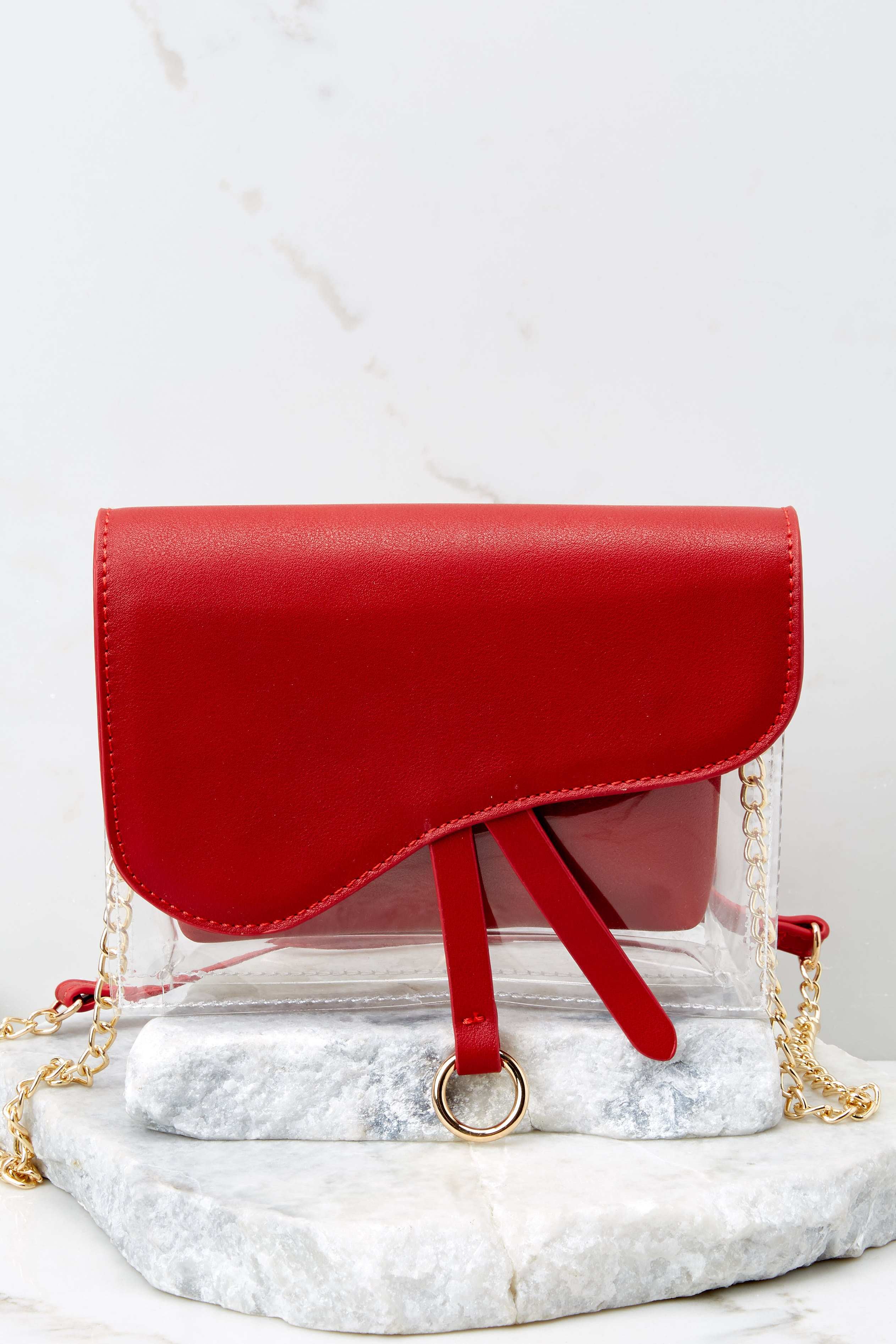 2 Everyone Will Know Red And Clear Purse at reddressboutique.com