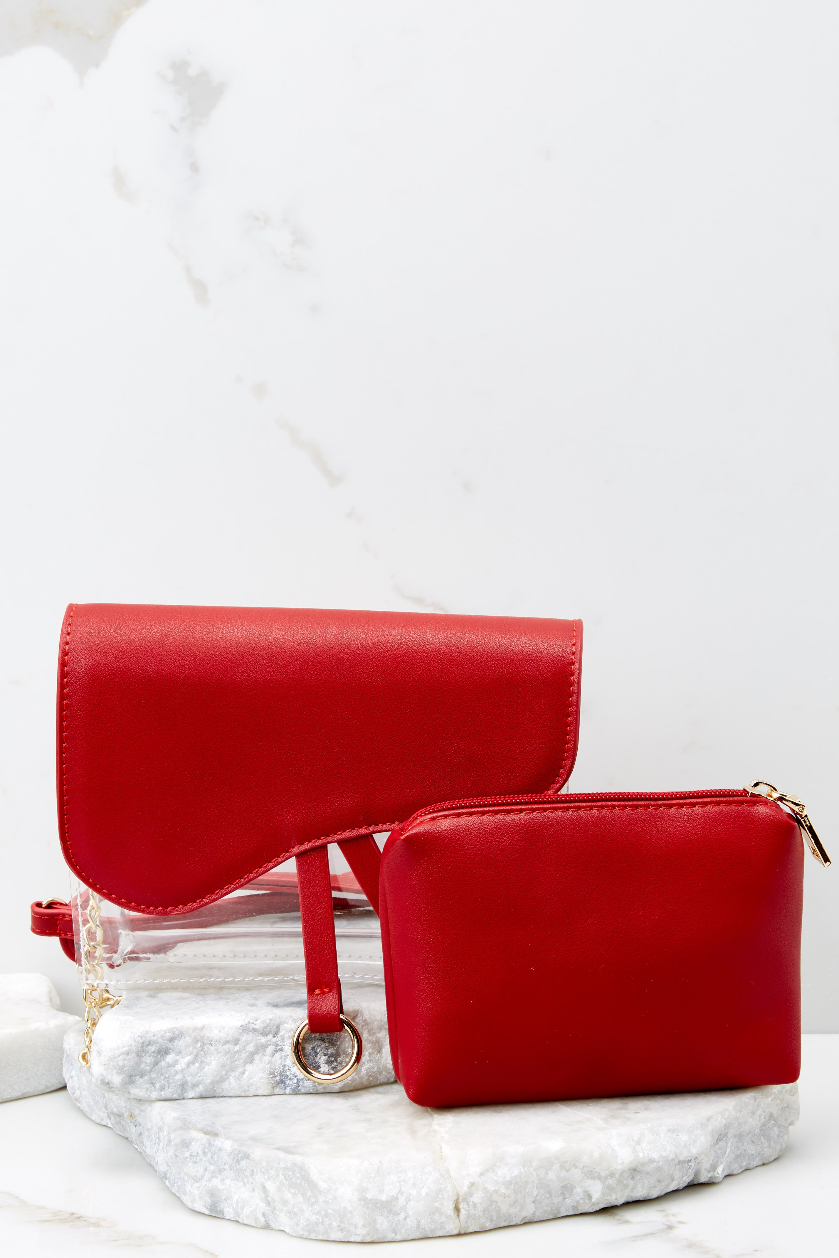 4 Everyone Will Know Red And Clear Purse at reddressboutique.com