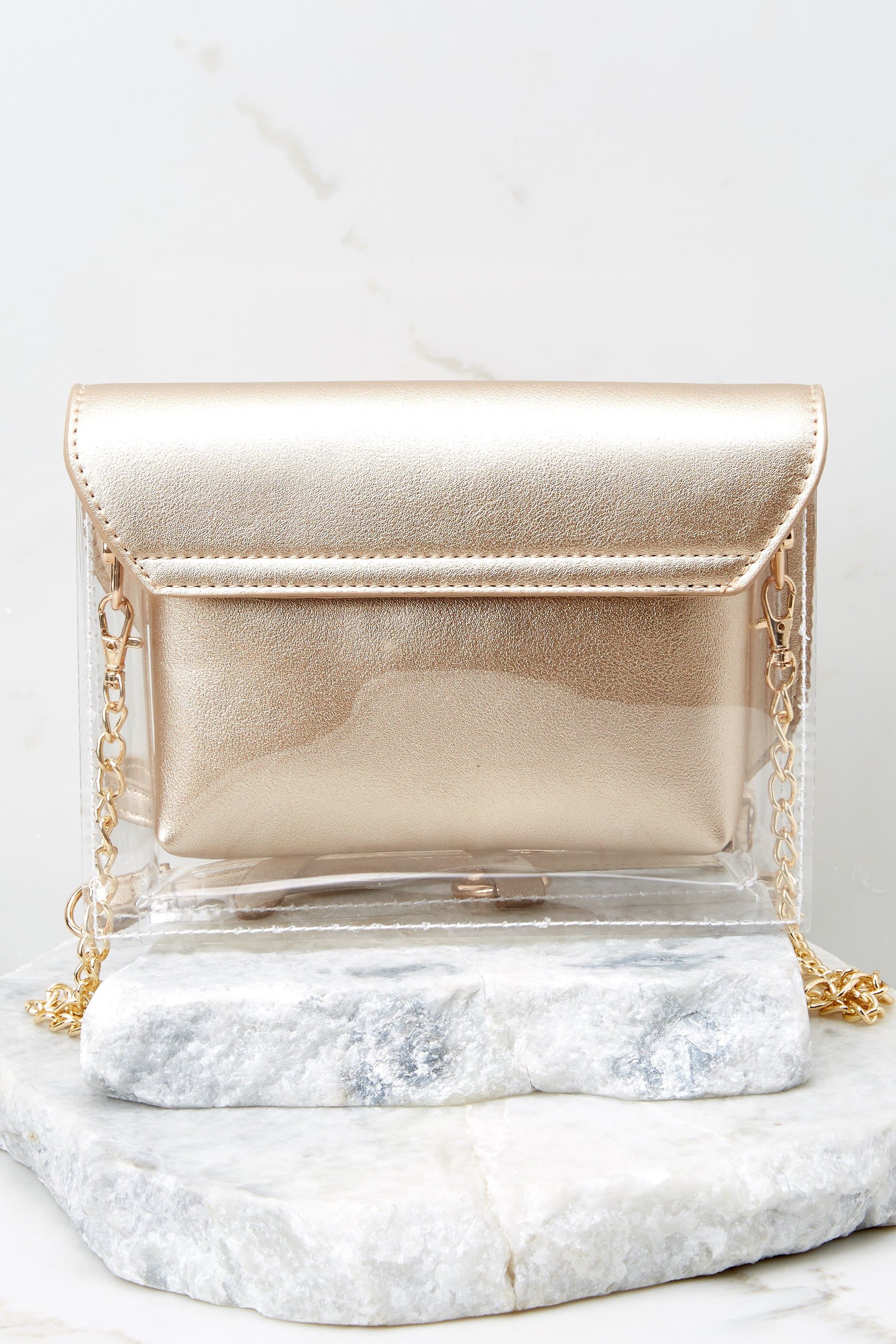 3 Everyone Will Know Gold And Clear Purse at reddressboutique.com