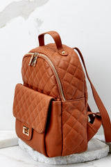 3 Go Where I Want Cognac Brown Backpack at reddressboutique.com