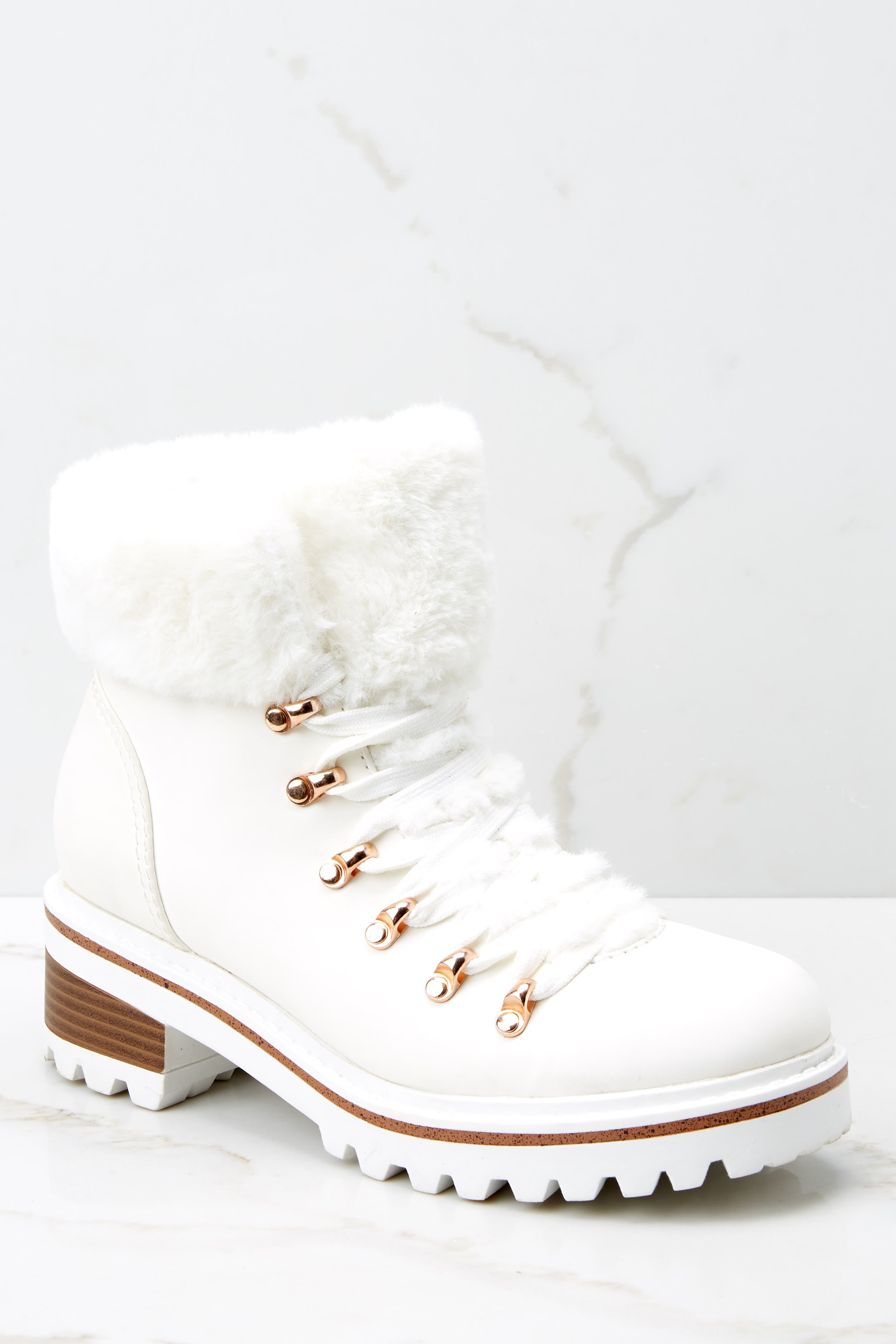 Chic White Boots - Vegan Fur Trimmed