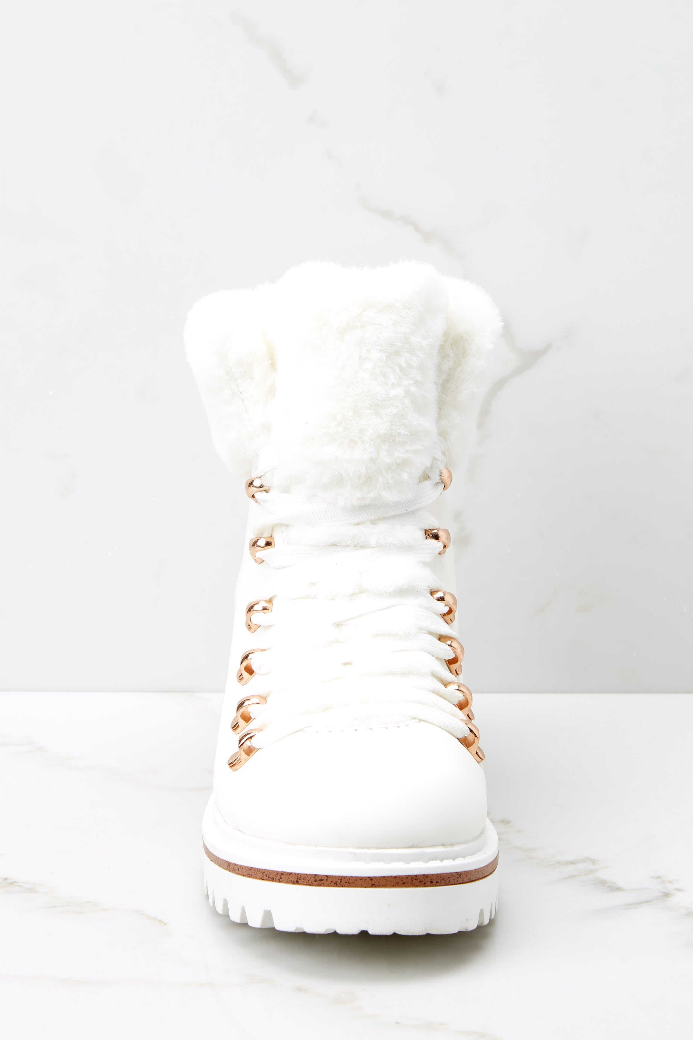 Crushed It White Vegan Fur Boots