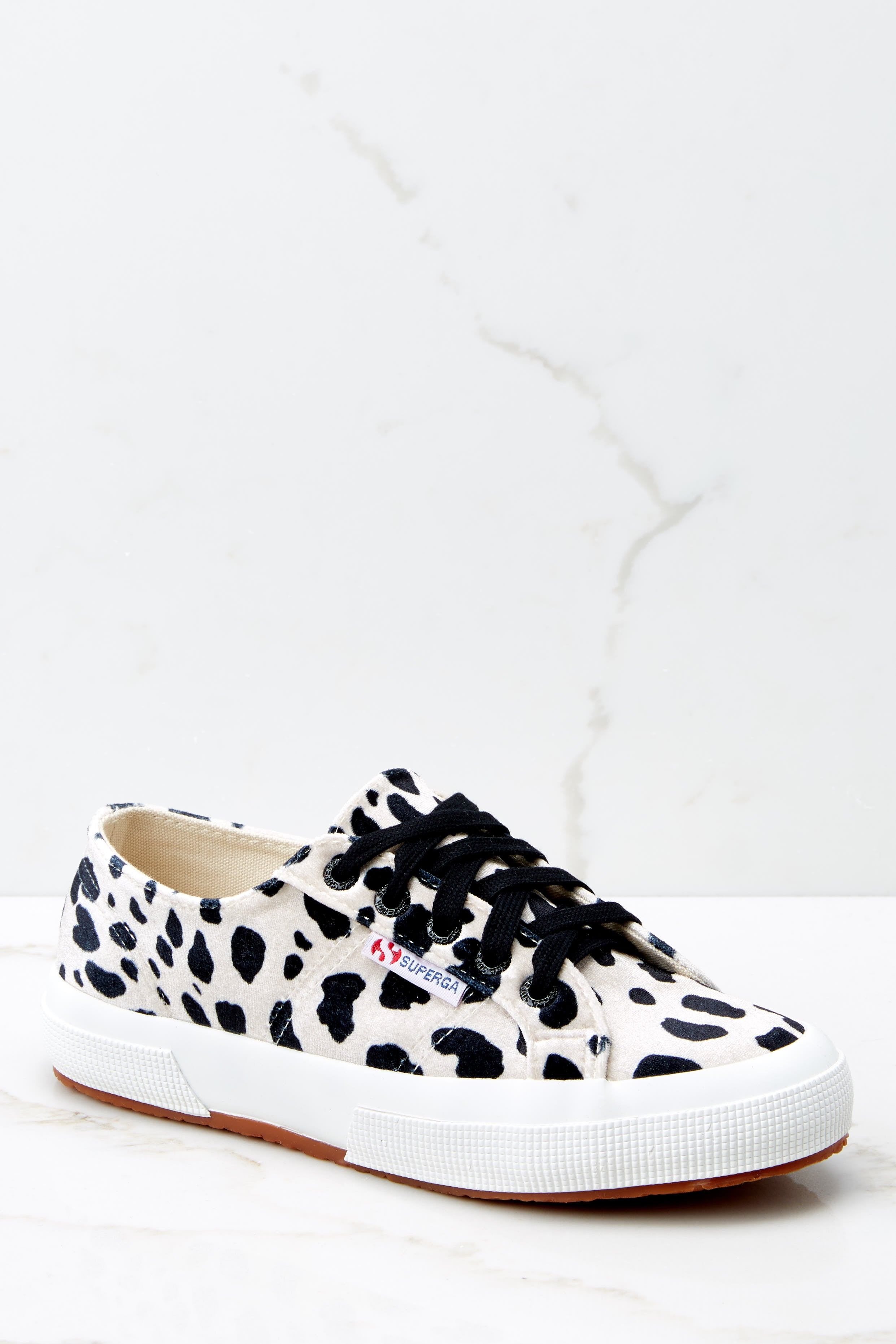 2 2750 Fan Velvet Dalmation Sneakers at reddressboutique.com