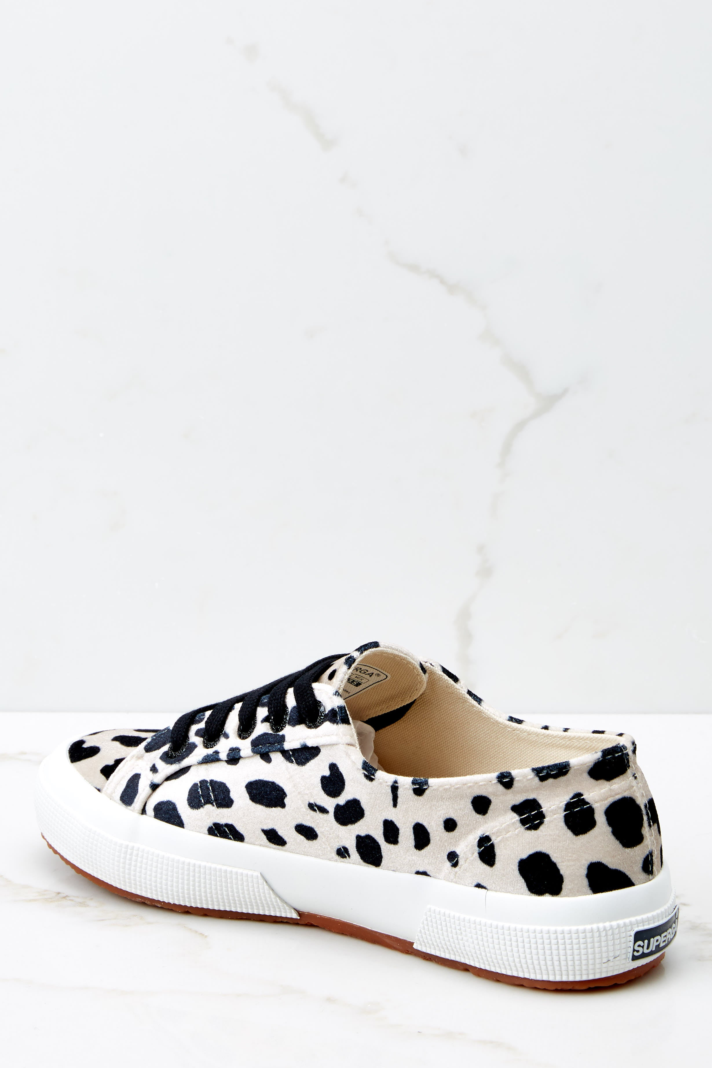 4 2750 Fan Velvet Dalmation Sneakers at reddressboutique.com