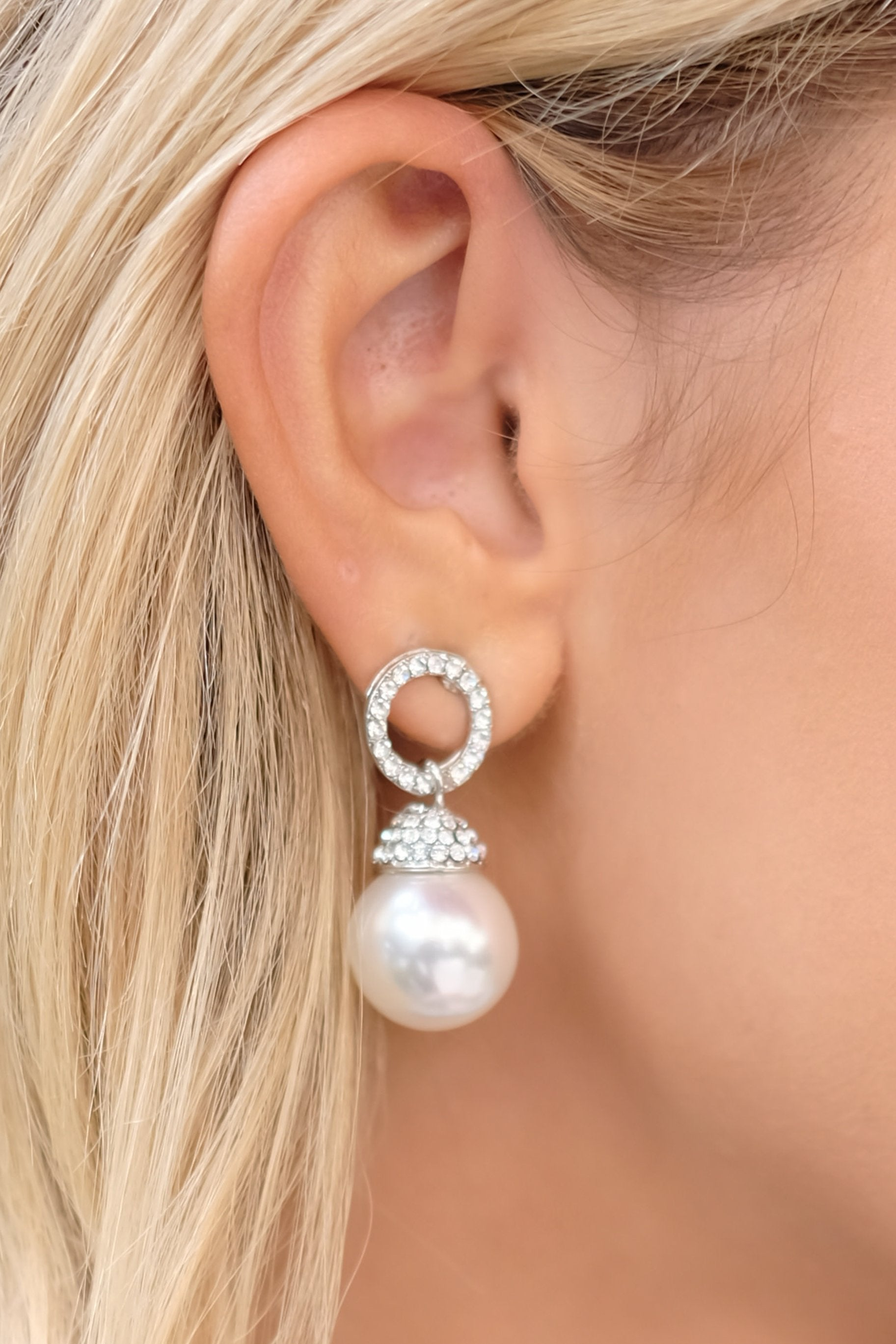 1 Keep The Class Silver Pearl Earrings at reddressboutique.com