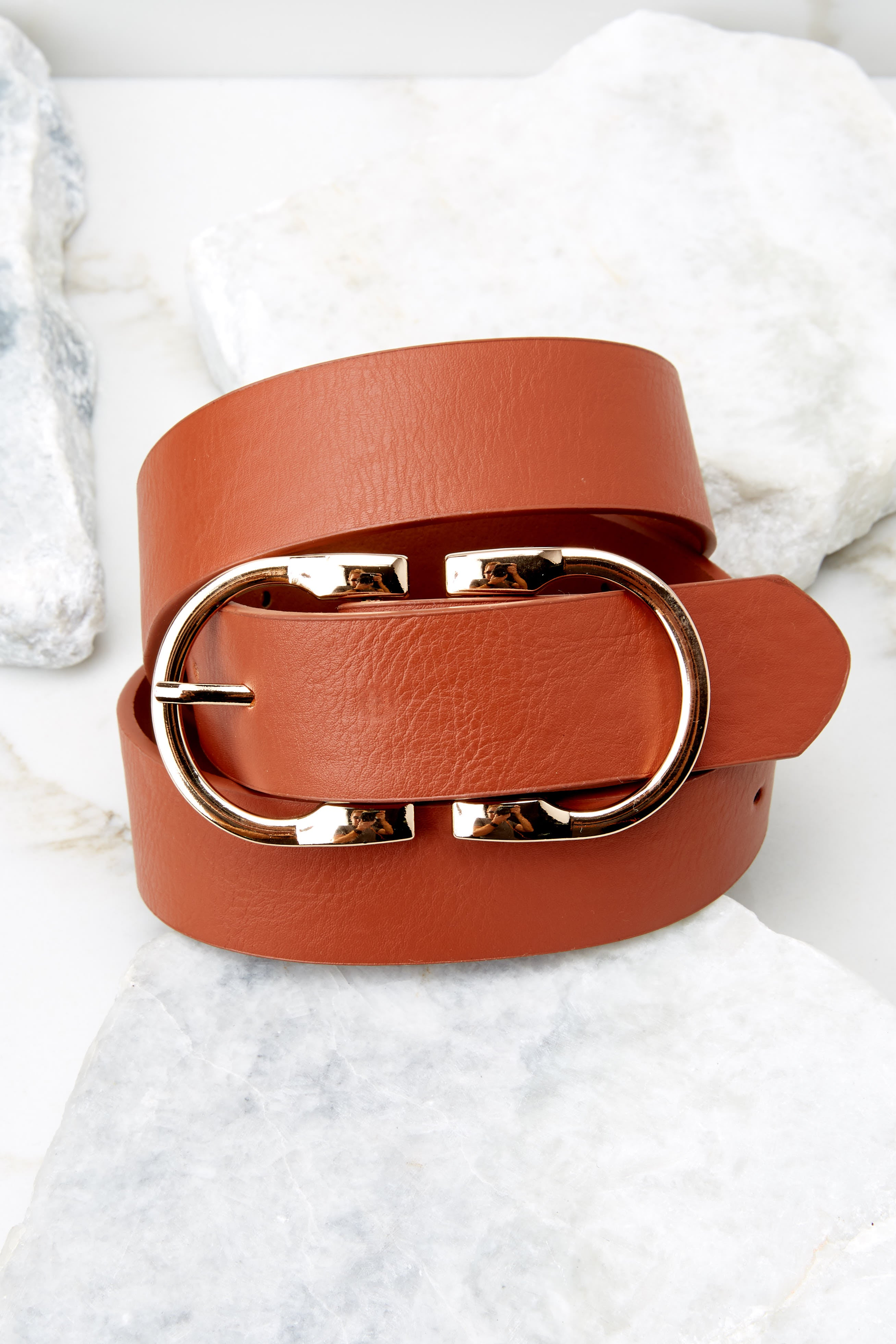 3 Here To There Cognac Belt at reddress.com