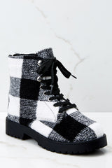 2 Everything My Way Black Buffalo Plaid Lace Up Boots at reddressboutique.com