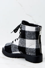 4 Everything My Way Black Buffalo Plaid Lace Up Boots at reddressboutique.com