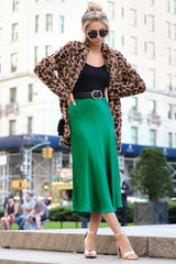 6Silky Seduction Emerald Satin Midi Skirt at reddressboutique.com