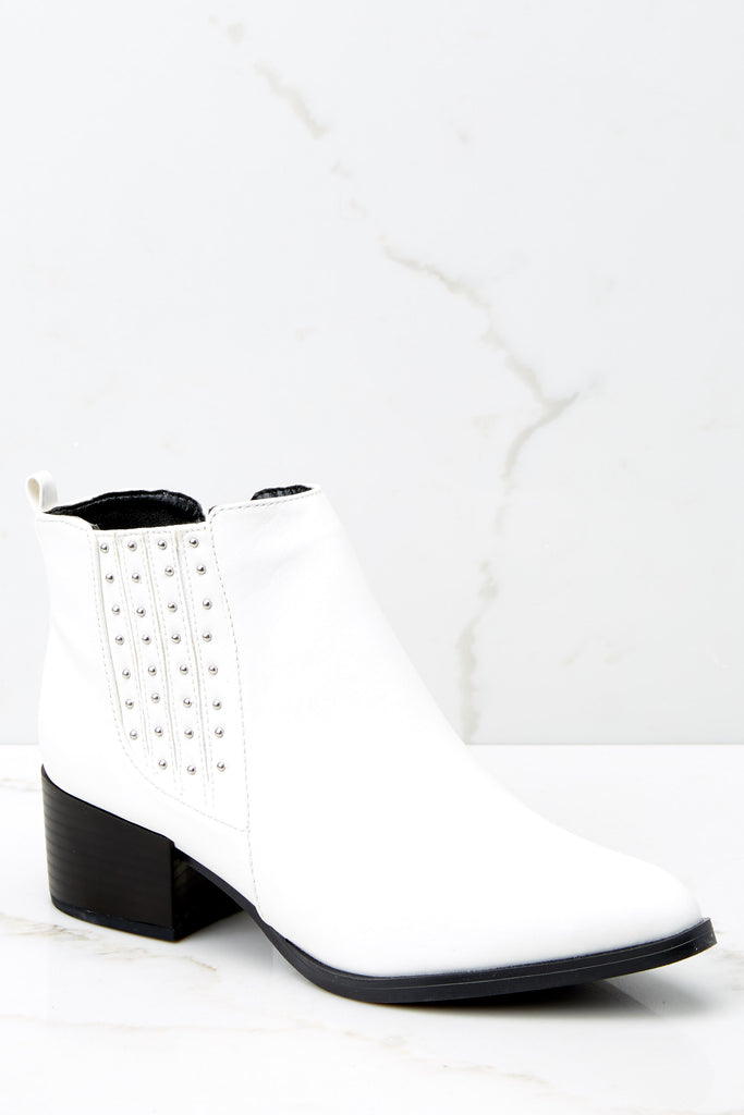 1 Chic Statement White Ankle Booties at reddressboutique.com