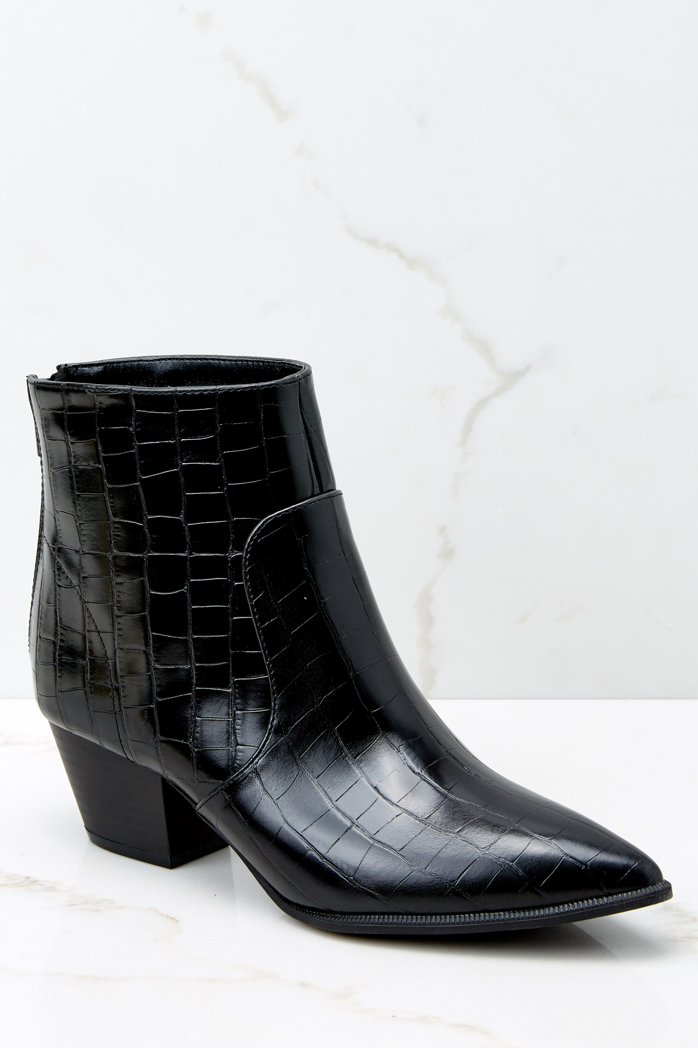Notice It Now Black Crocodile Booties