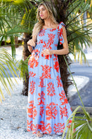 Smocked Polyester Elasticized Waistline Tiered Self Tie Gathered General Print Fall Maxi Dress With Ruffles