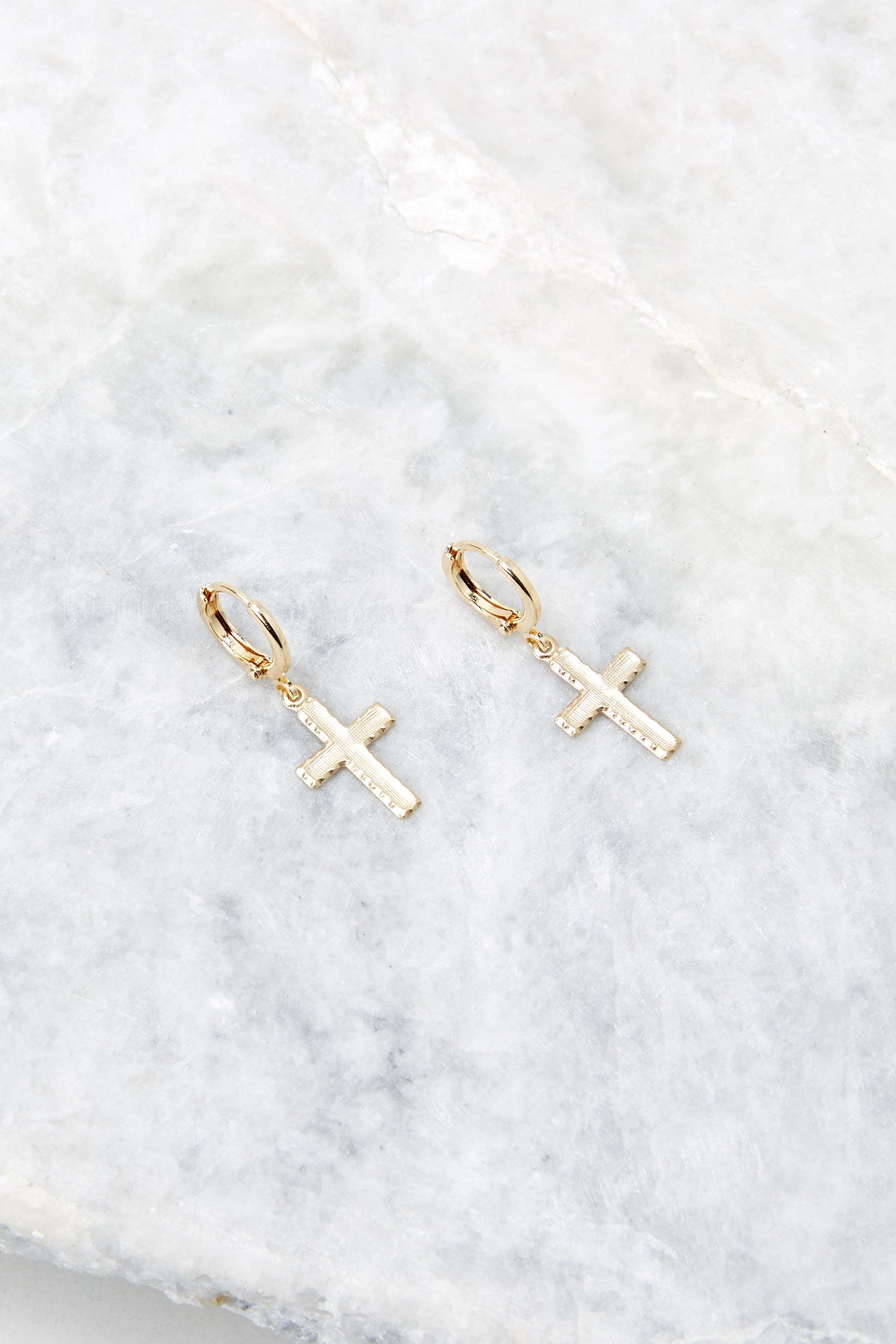 Always Faithful Gold Cross Earrings