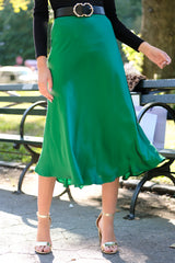 7 Silky Seduction Emerald Satin Midi Skirt at reddressboutique.com
