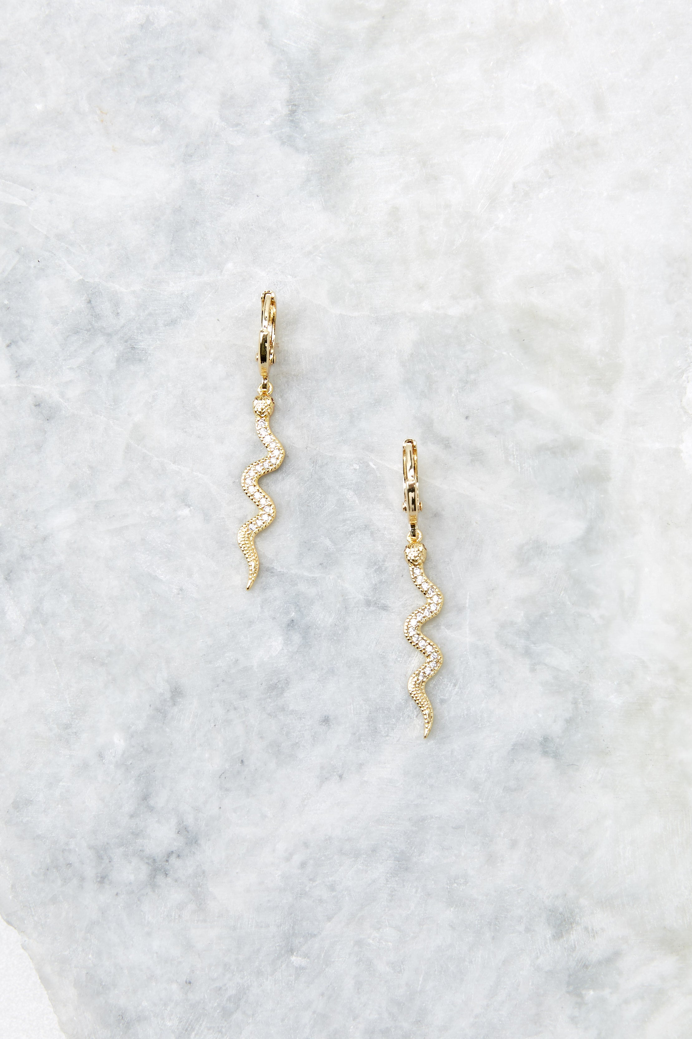 Keep Your Secrets Gold Snake Earrings