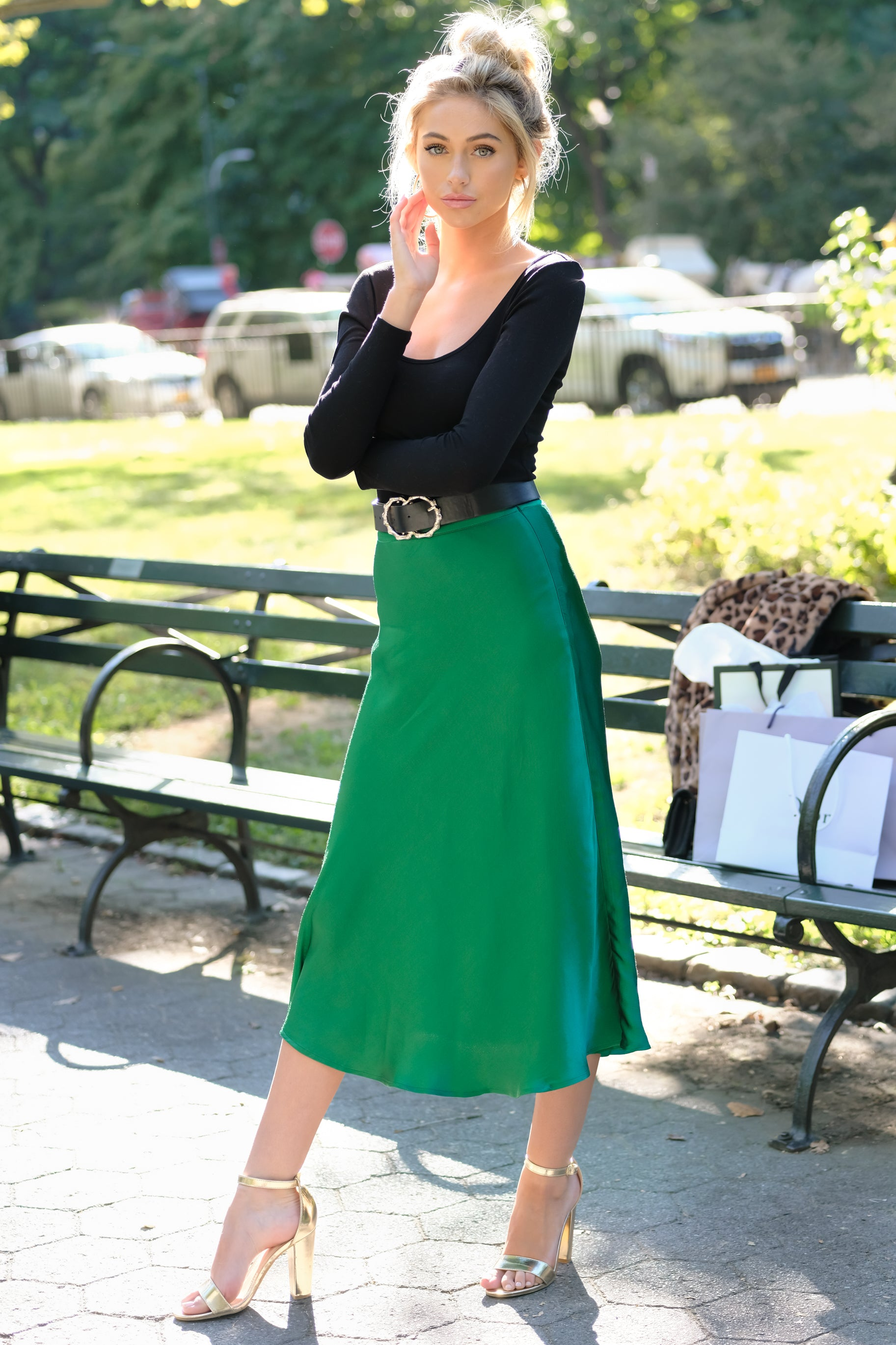 8 Silky Seduction Emerald Satin Midi Skirt at reddressboutique.com