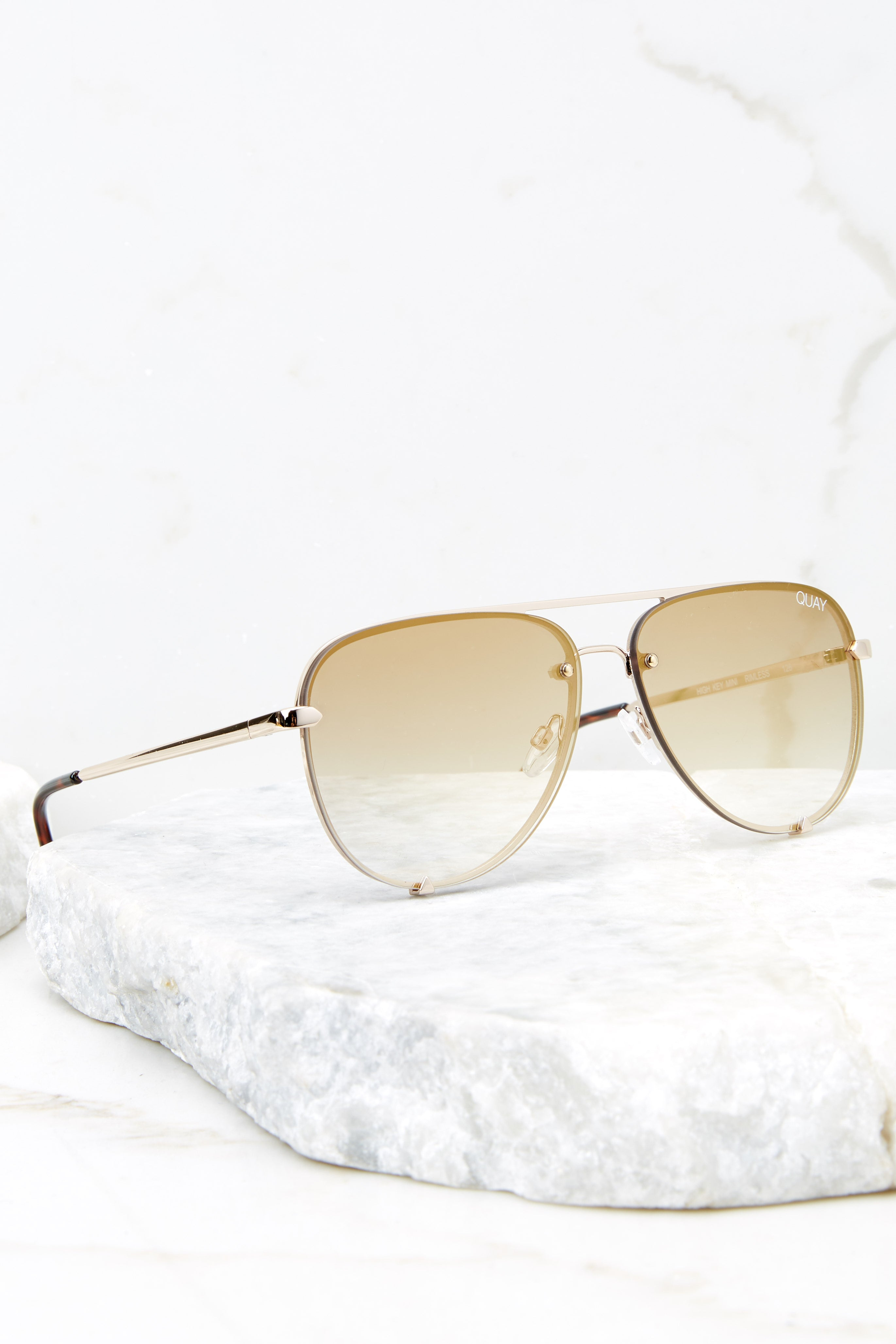 High Key Mini Rimless Gold Brown Sunglasses