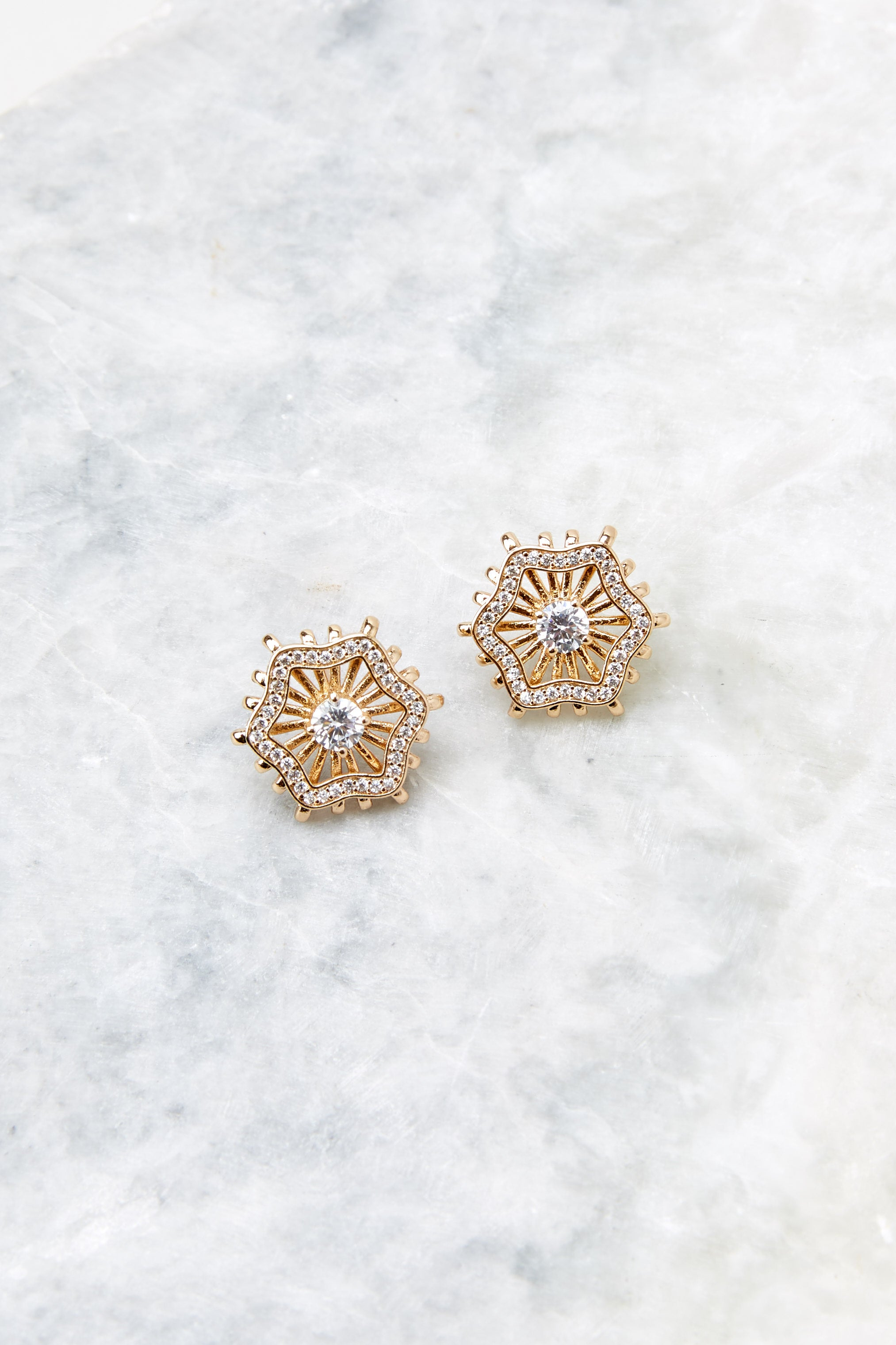 3 Chloe Gold Stud Earrings at reddressboutique.com