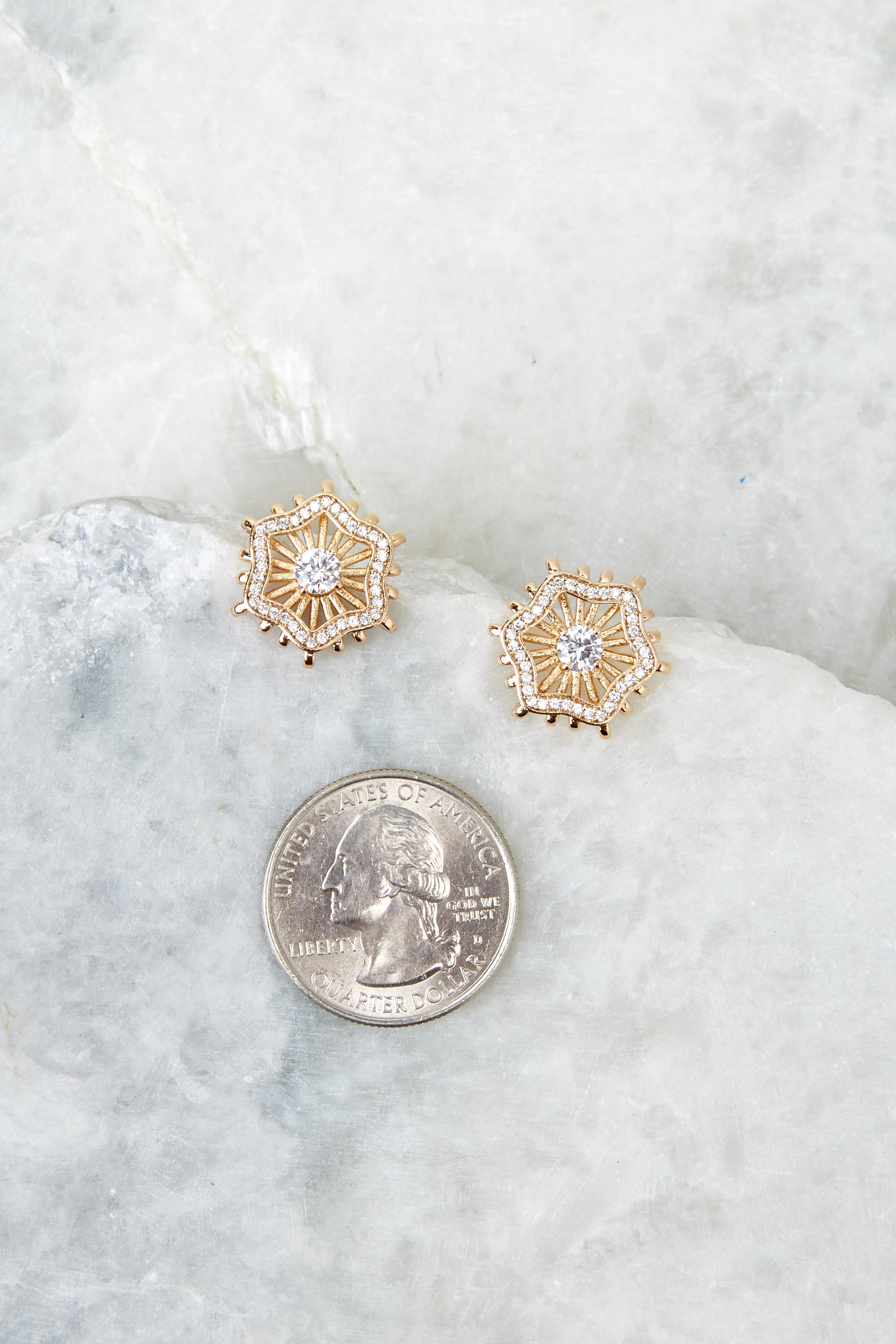 4 Chloe Gold Stud Earrings at reddressboutique.com