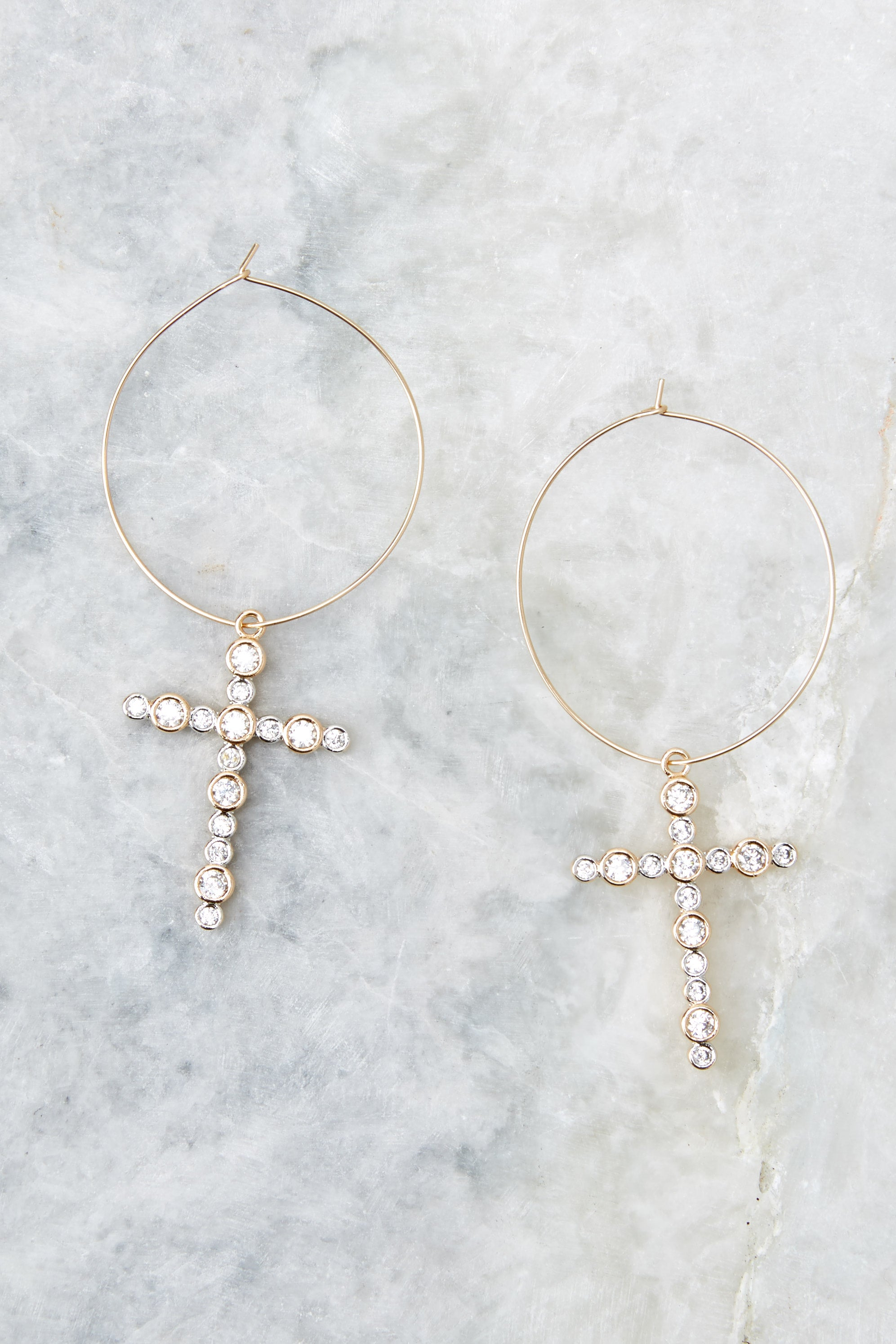 Hope Gold Cross Hoops