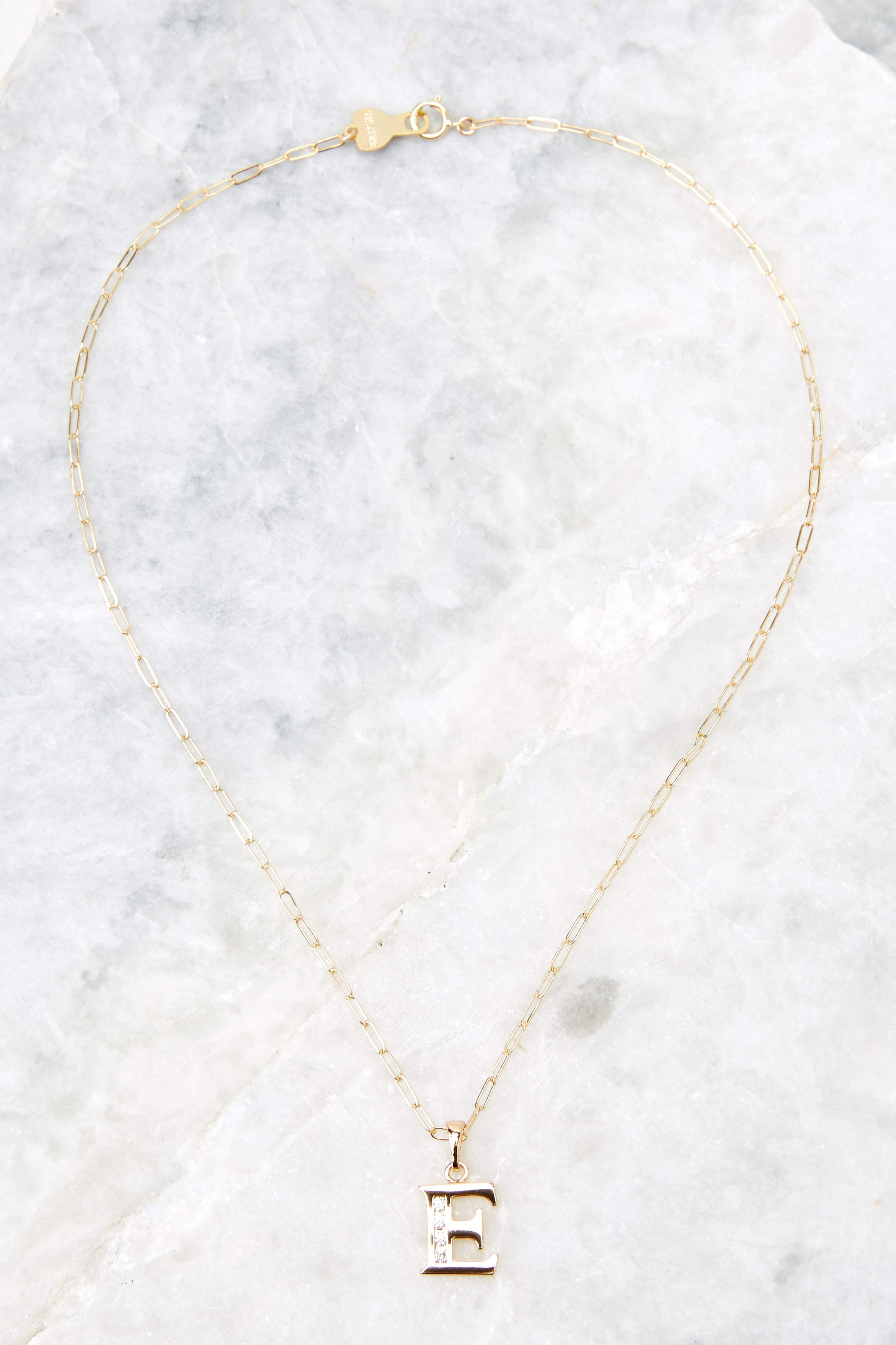 Block Initial E 14K Gold Filled Necklace
