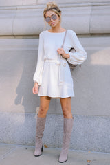 3 Right About It Ivory Chenille Sweater Dress at reddress.com