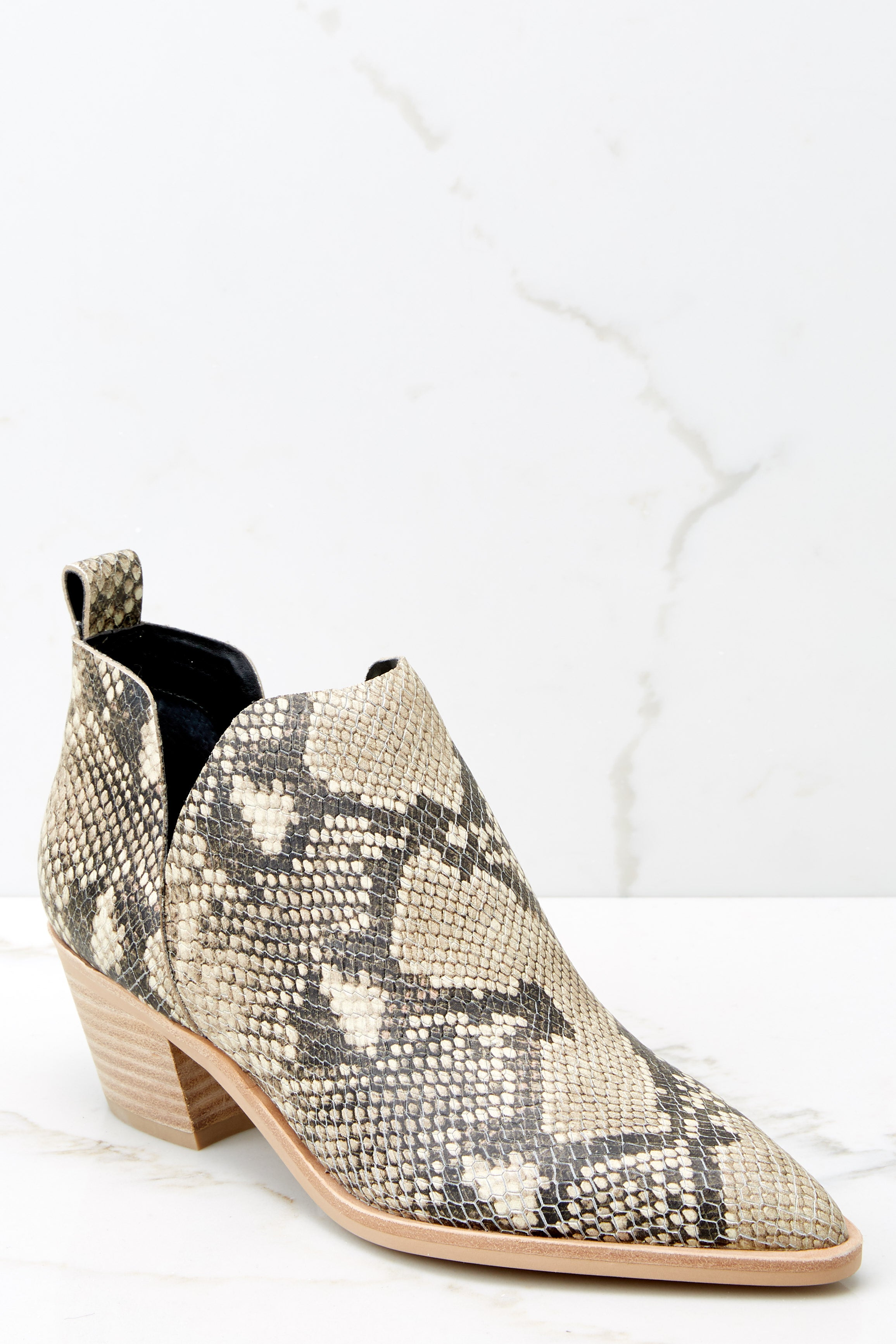 3 Sonni Snake Print Booties at reddressboutique.com