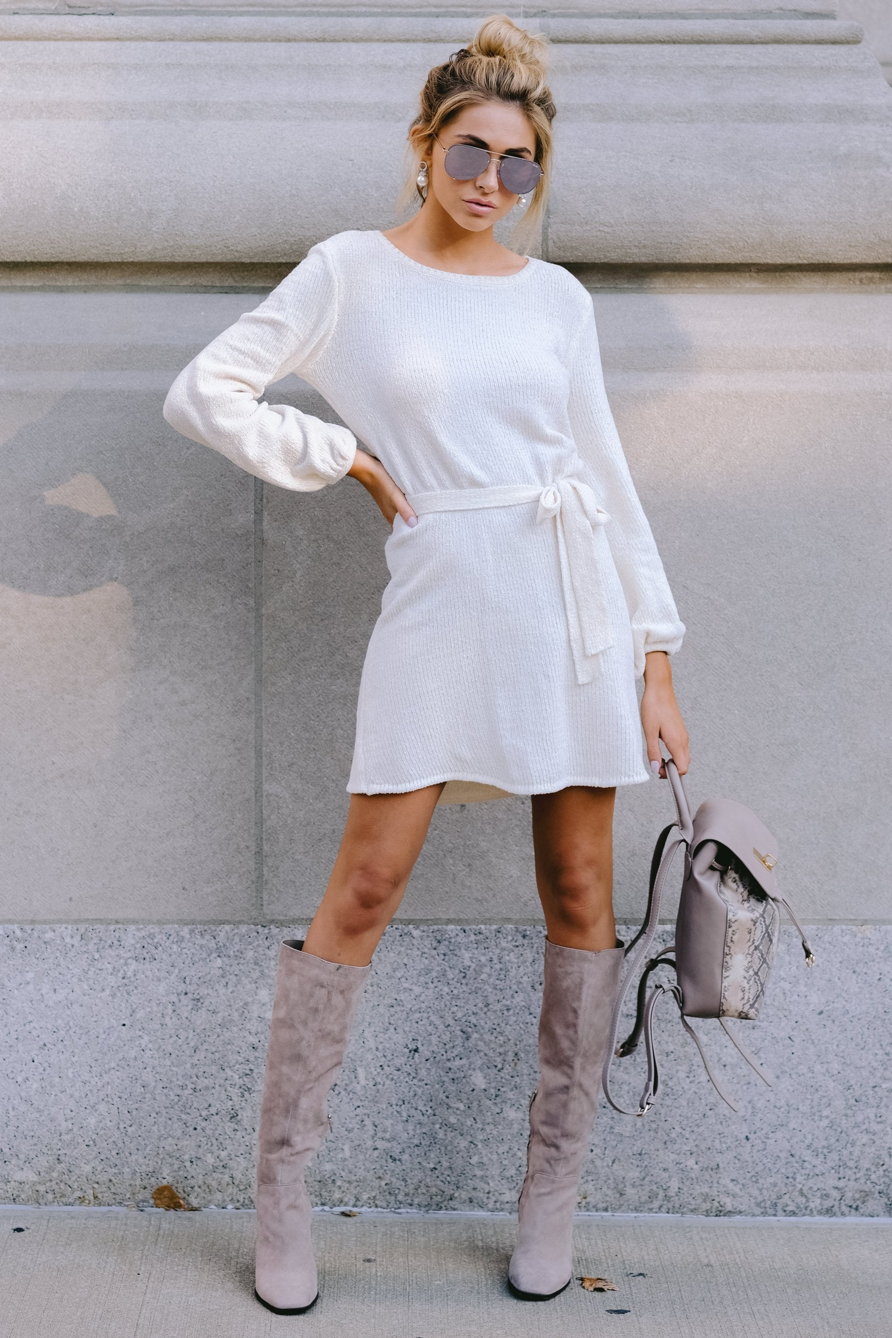 2 Right About It Ivory Chenille Sweater Dress at reddress.com