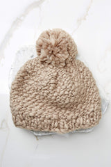 3 Day In The Snow Taupe Pom Hat at reddressboutique.com