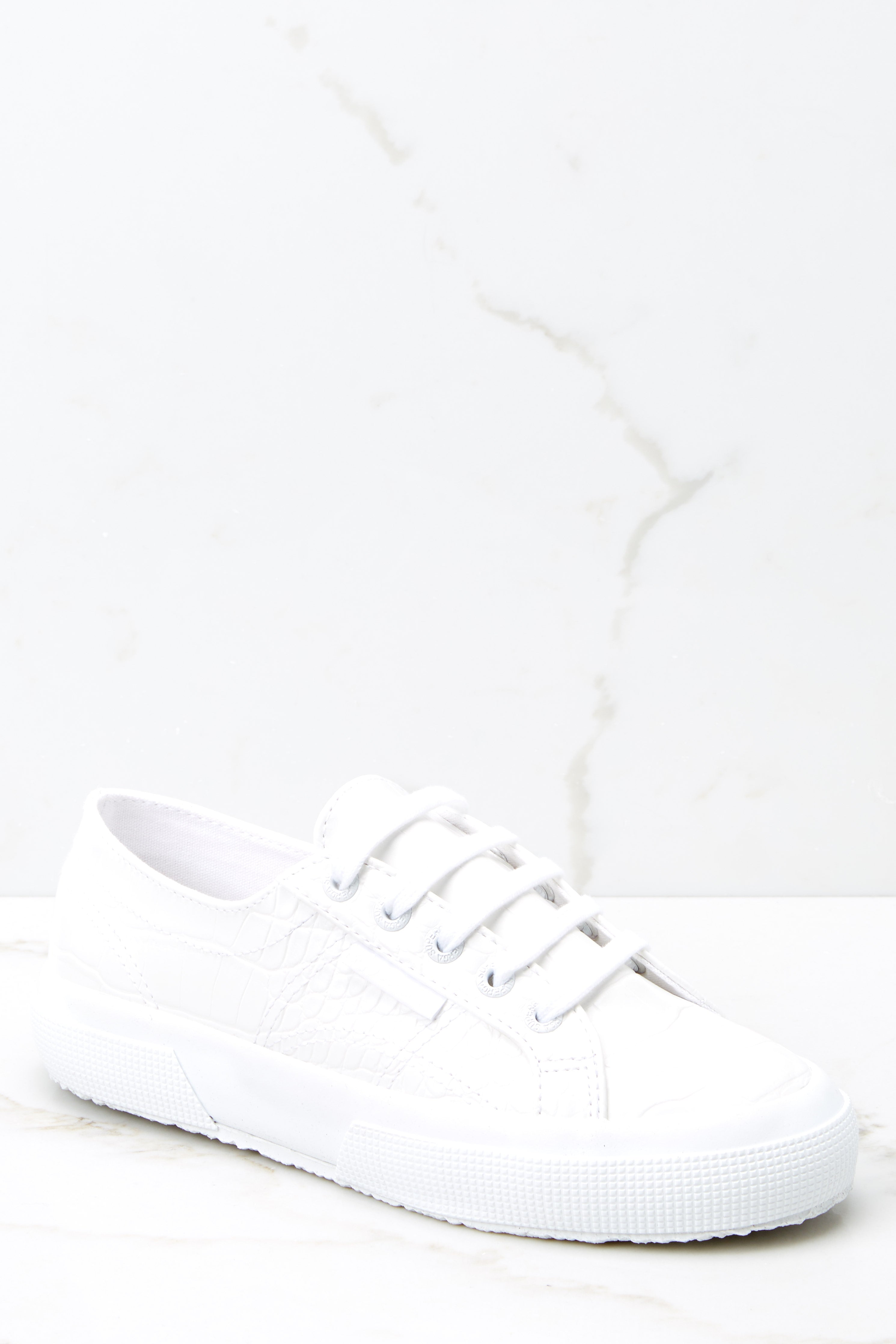 2 2750 Synthetic White Crocodile Sneakers at reddressboutique.com