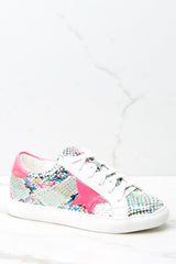 2 Getting Better Fuchsia Snake Print Sneakers at reddressboutique.com