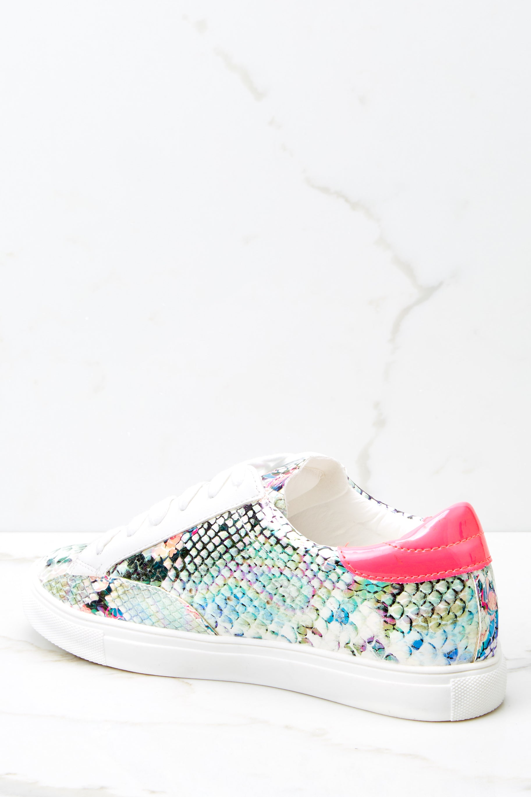 4 Getting Better Fuchsia Snake Print Sneakers at reddressboutique.com