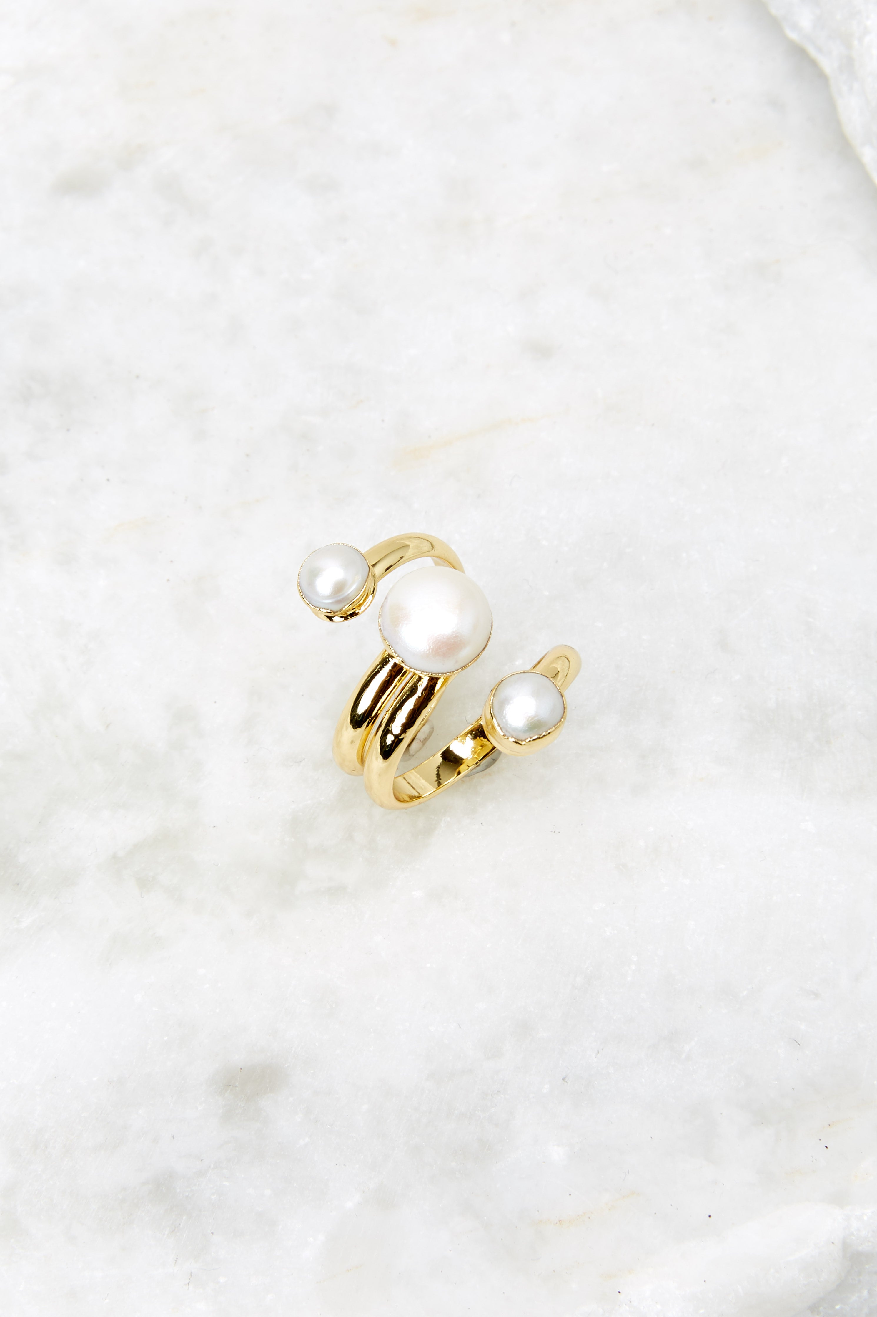 2 Gold Pearl Ring at redressboutique.com