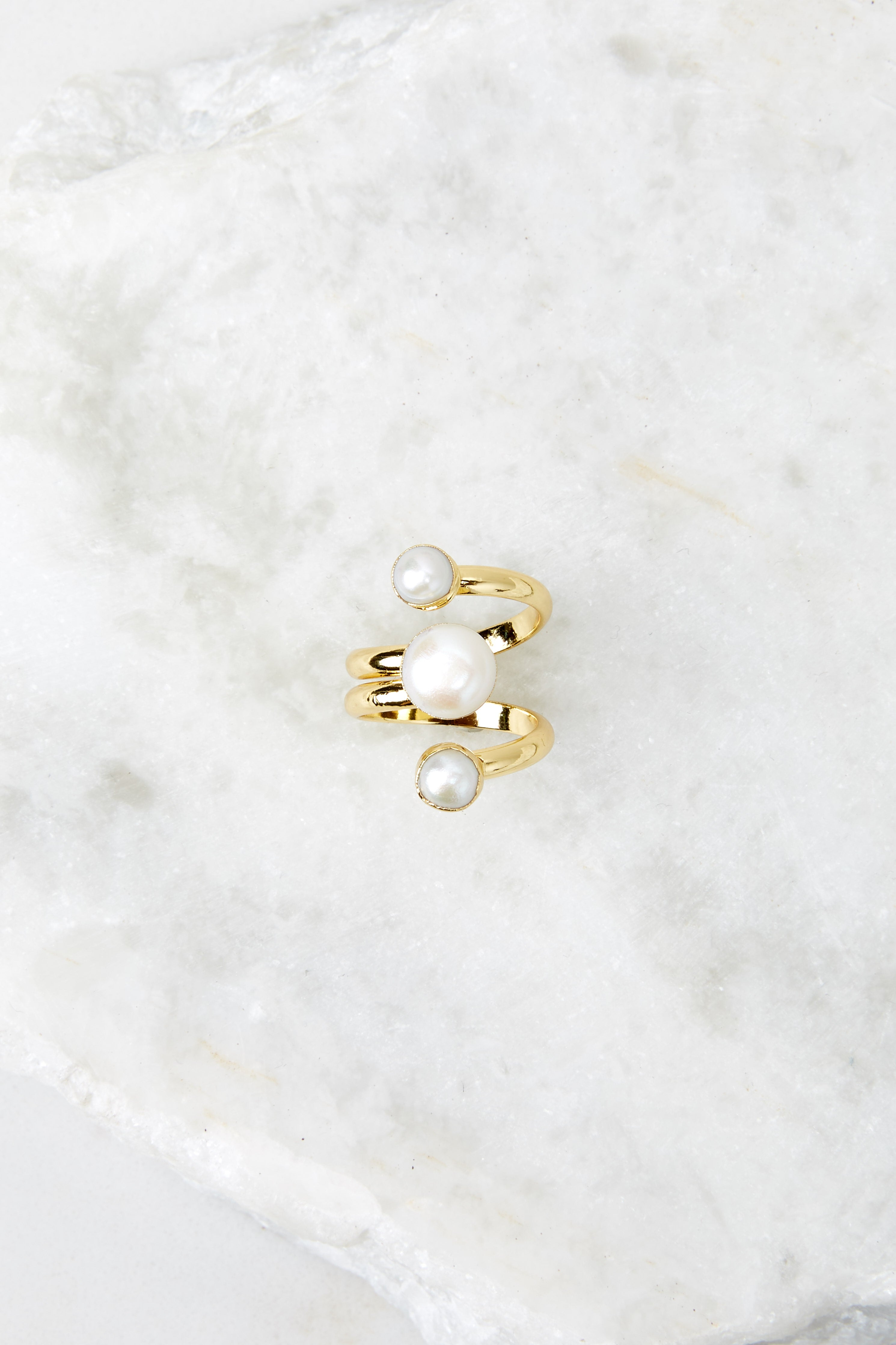 3 Gold Pearl Ring at redressboutique.com