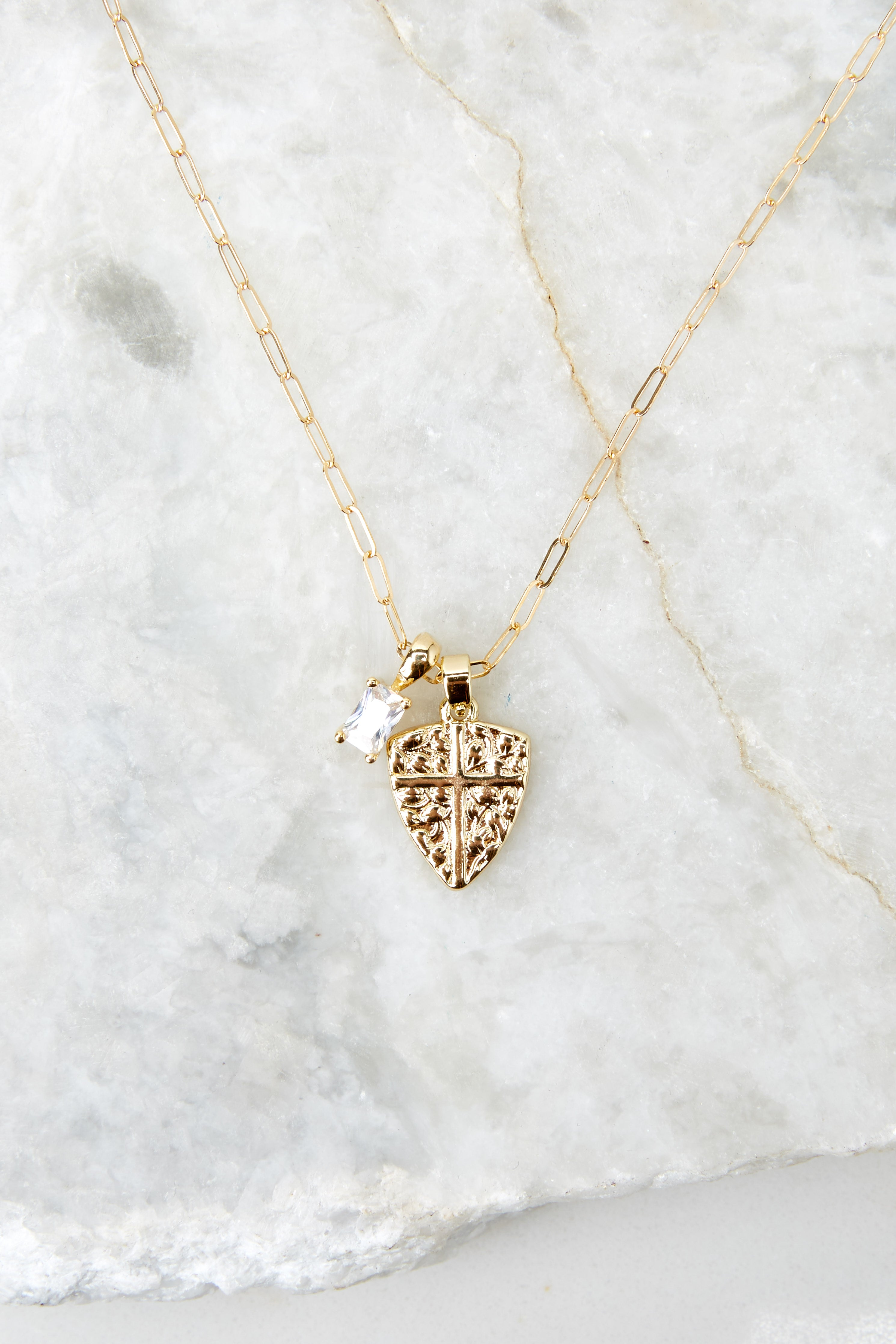 3 Protection Gold Charm Necklace @ reddress.com