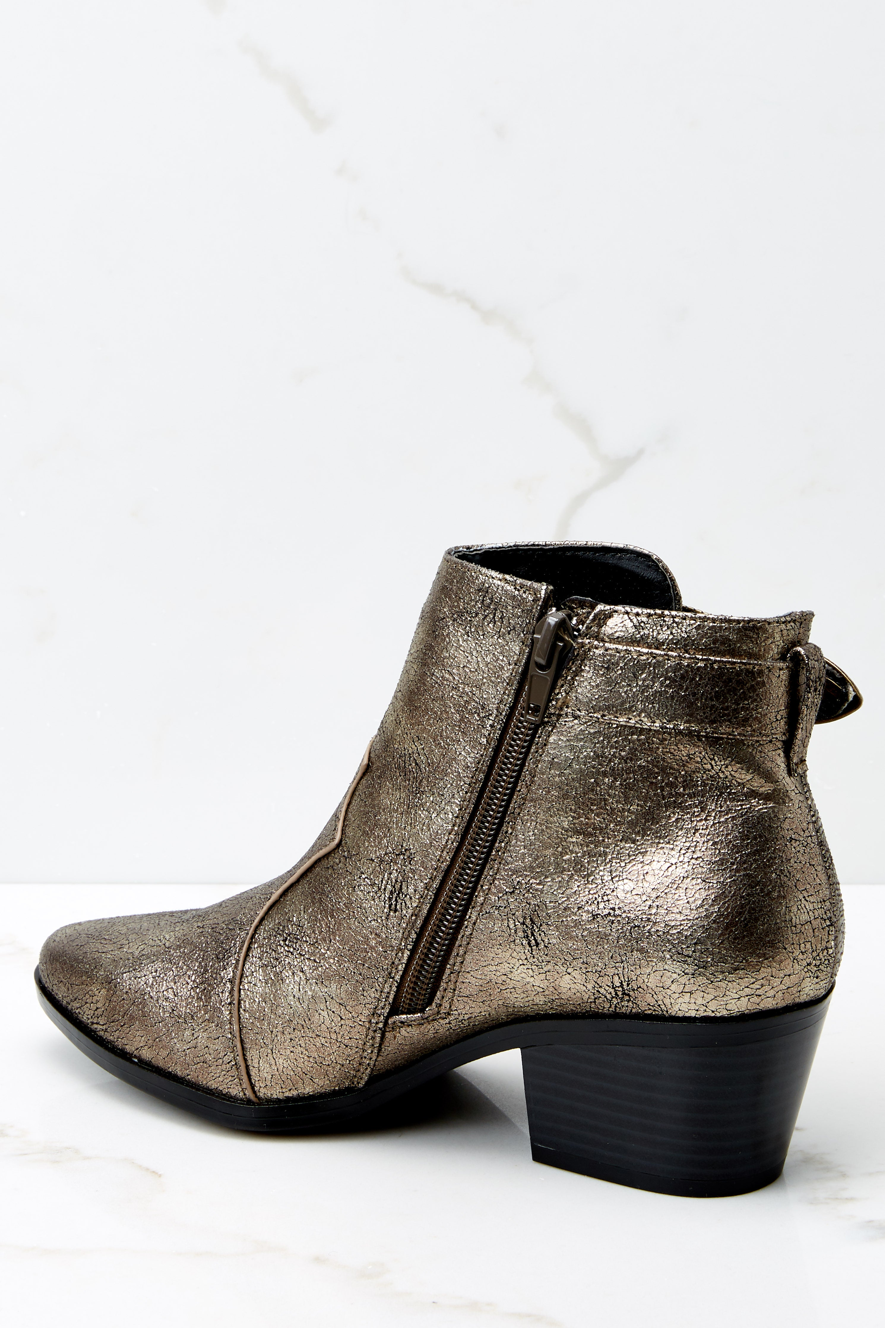 6 Ready To Roam Gold And Black Ankle Booties @ reddress.com