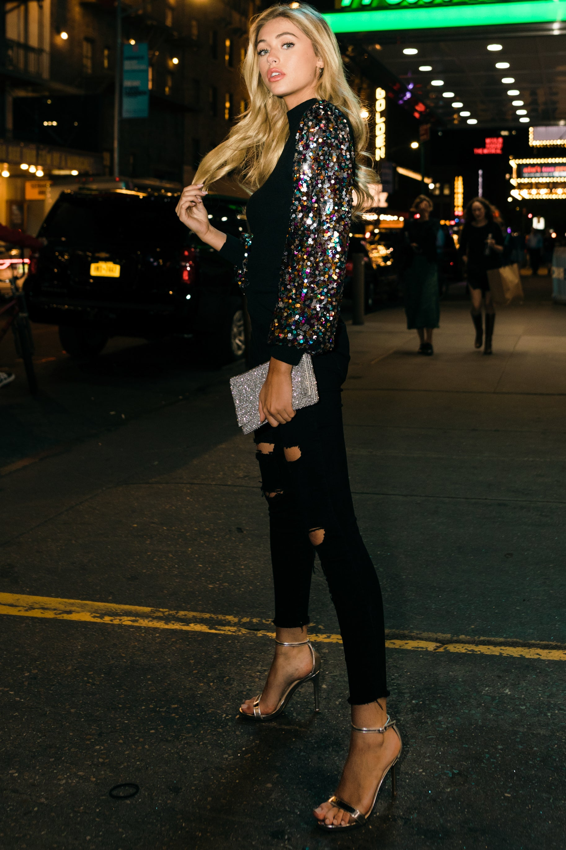 3 Manhattan Starlet Black Multi Sequin Top at reddressboutique.com