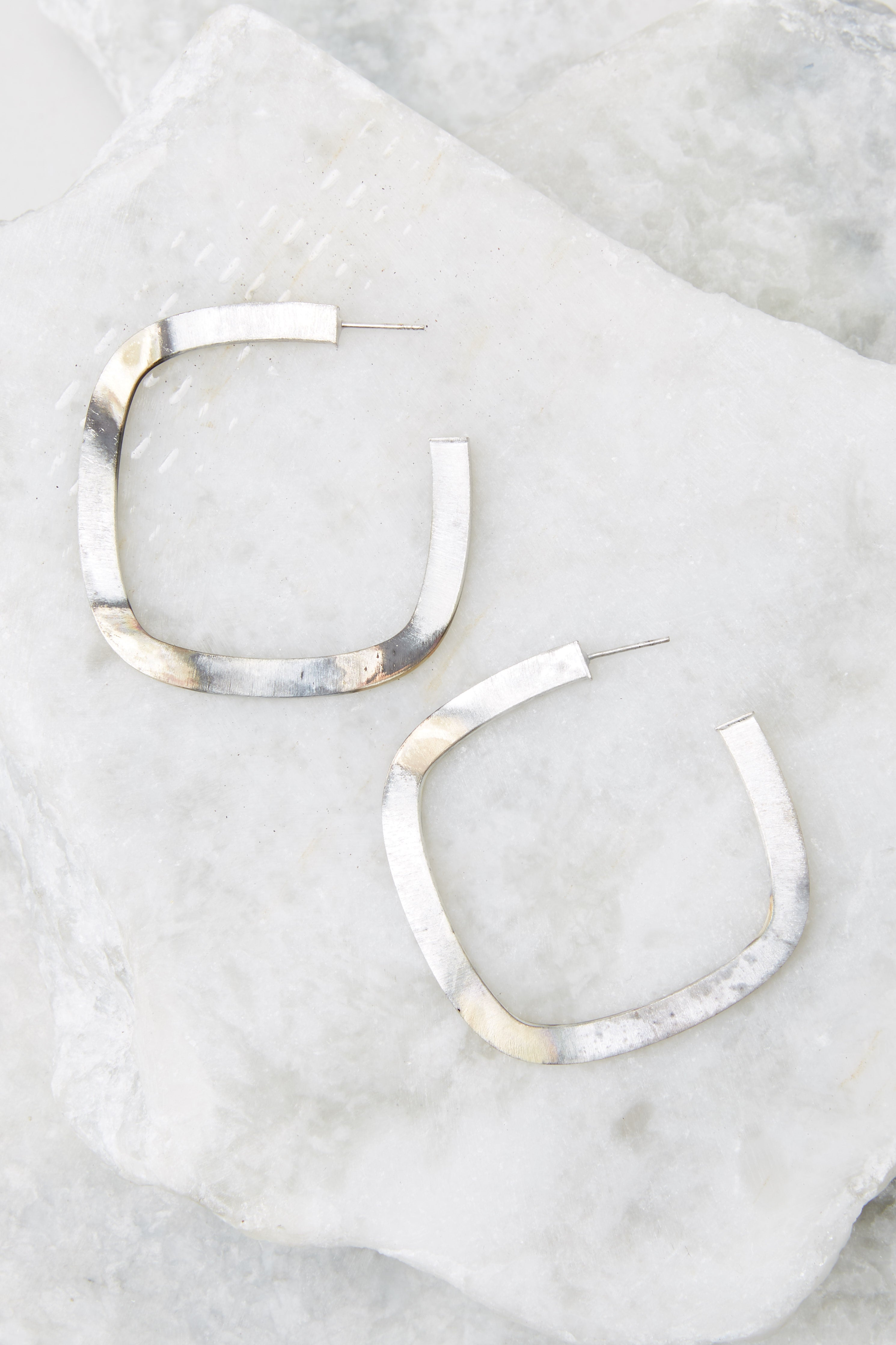 2 Square Elisa Silver Burnished Hoops at reddress.com