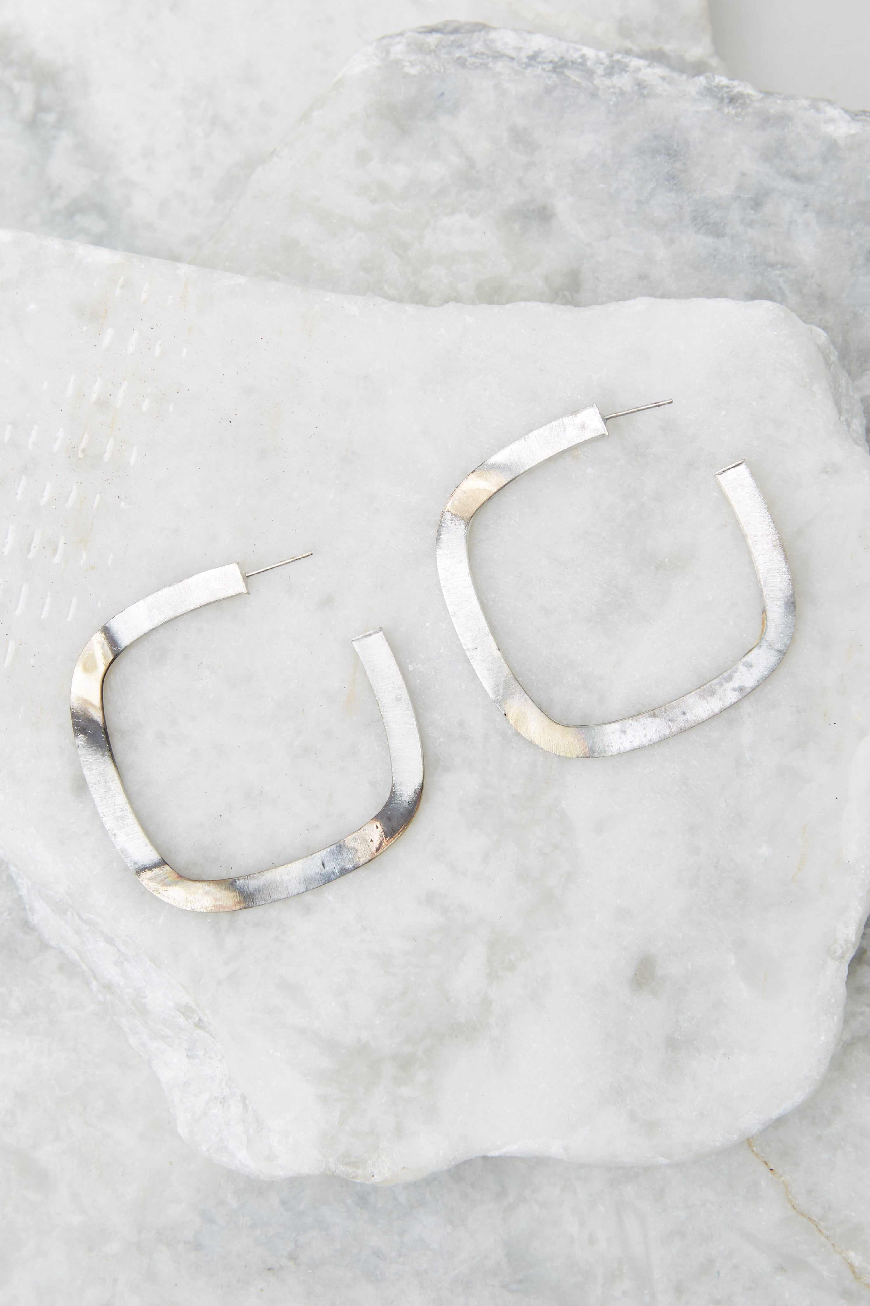 3 Square Elisa Silver Burnished Hoops at reddress.com