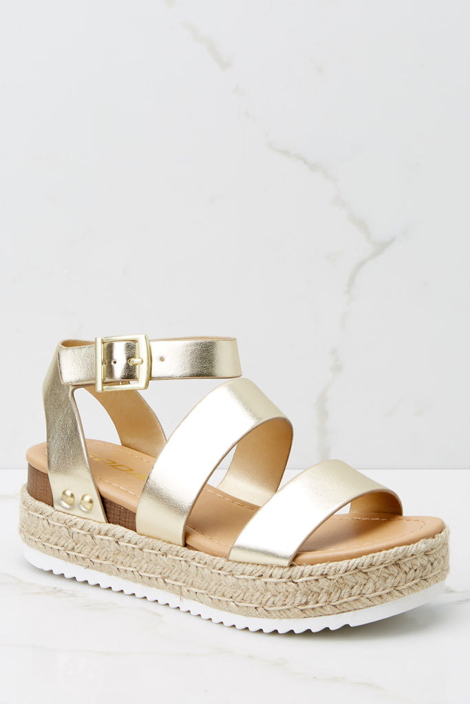 1 Following Fun Metallic Gold Slip On Espadrille Flats at reddress.com