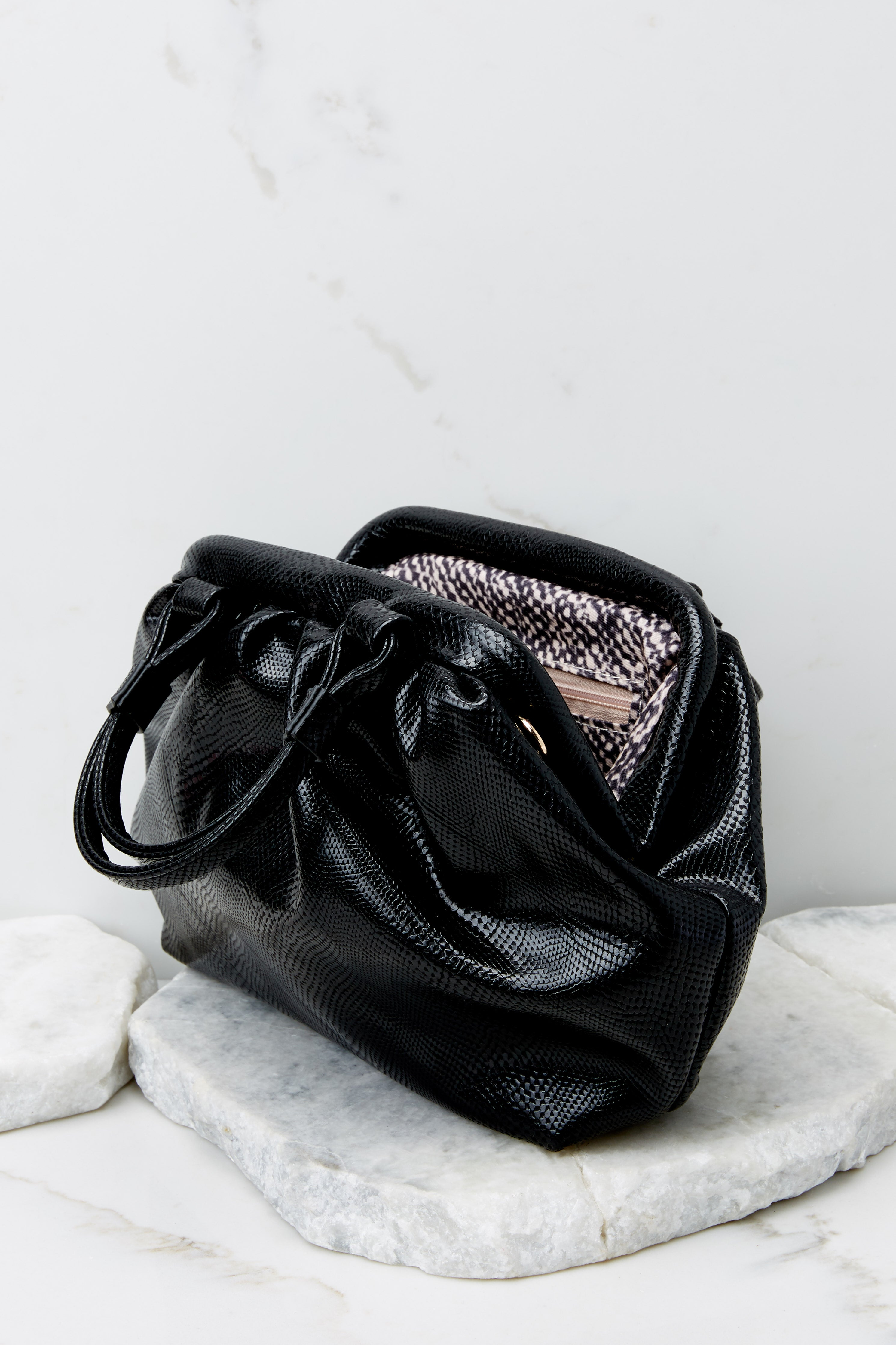 6 No Easy Catch Black Vegan Leather Crossbody Bag at reddress.com