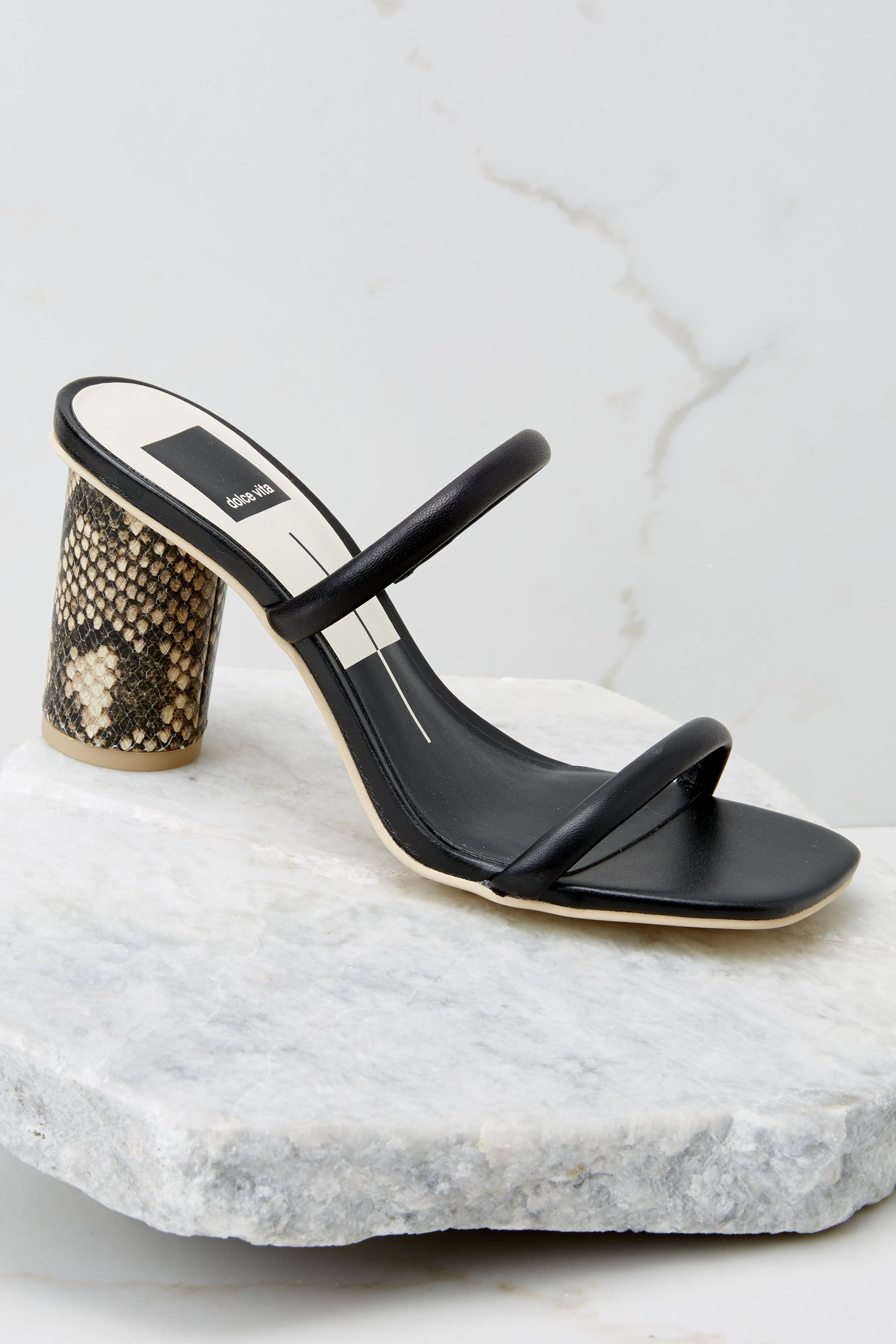 2 Noles Black Snakeskin High Heel Sandals at reddress.com